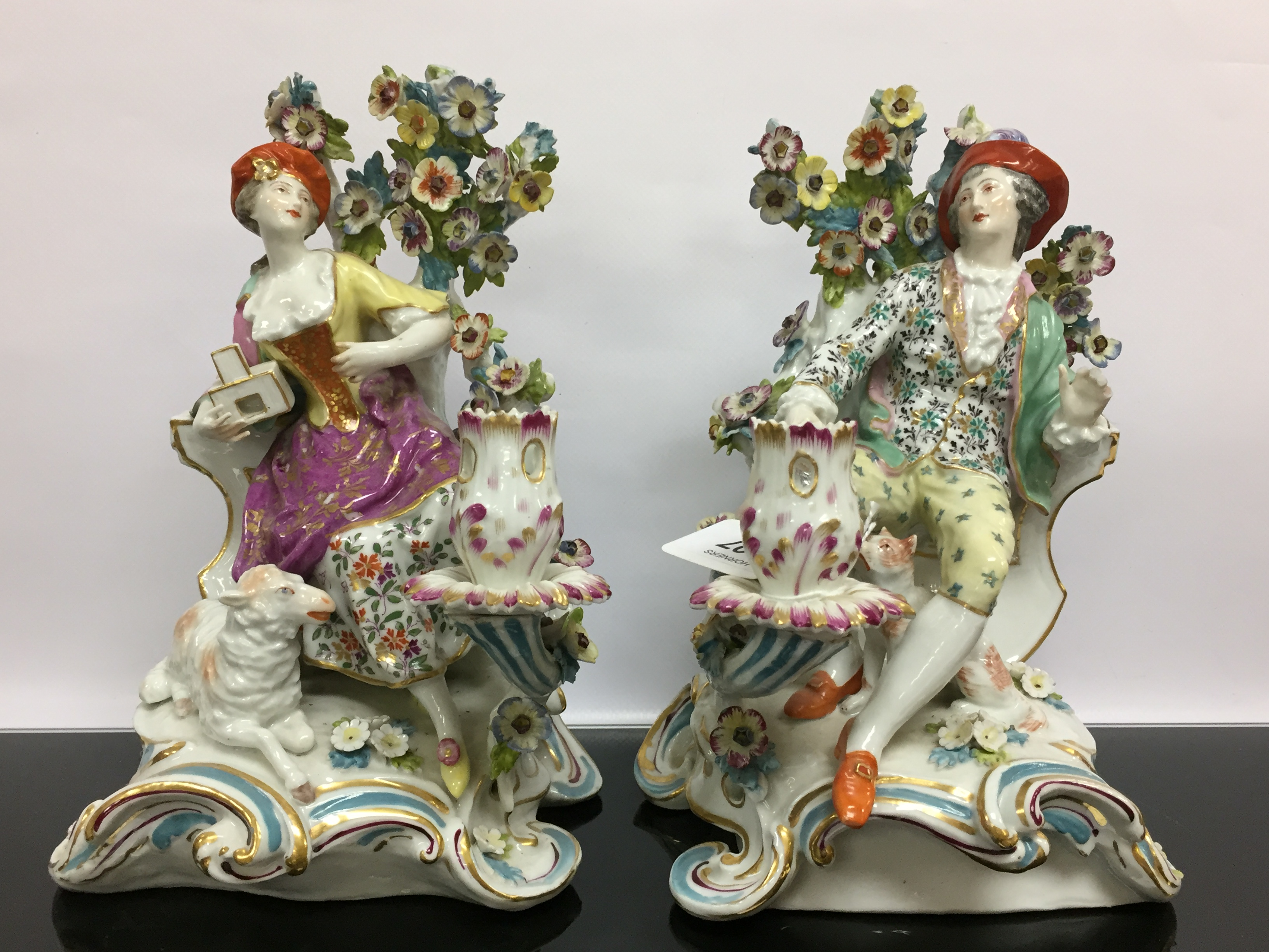 Lot 107 - A PAIR OF C19TH FRENCH SAMSON (COPYING CHELSEA) CANDLE FIGURE GROUPS,