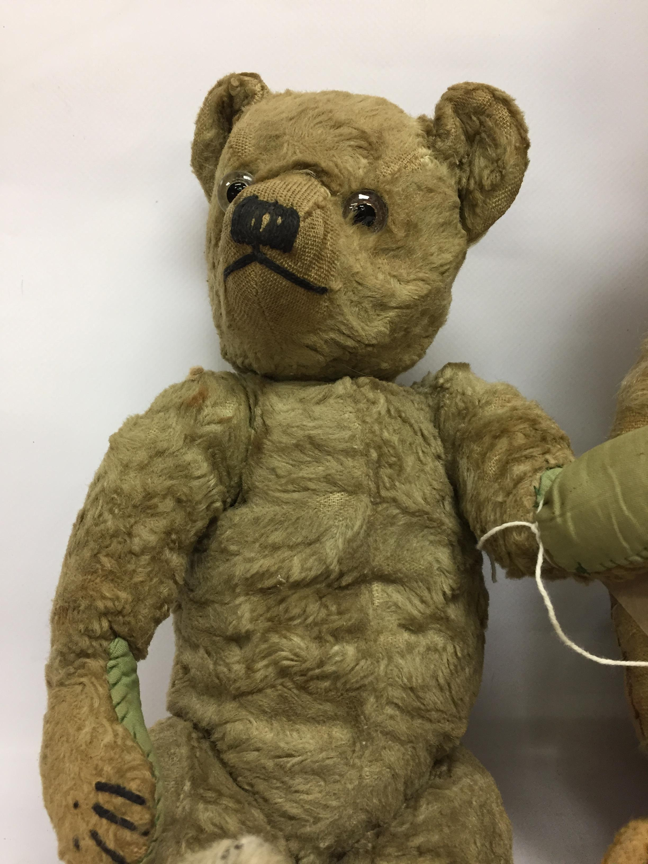 Lot 62 - EIGHT VINTAGE STRAW FILLED TEDDY BEARS ALL VERY WELL LOVED AND SHOWING SIGNS OF STRESS