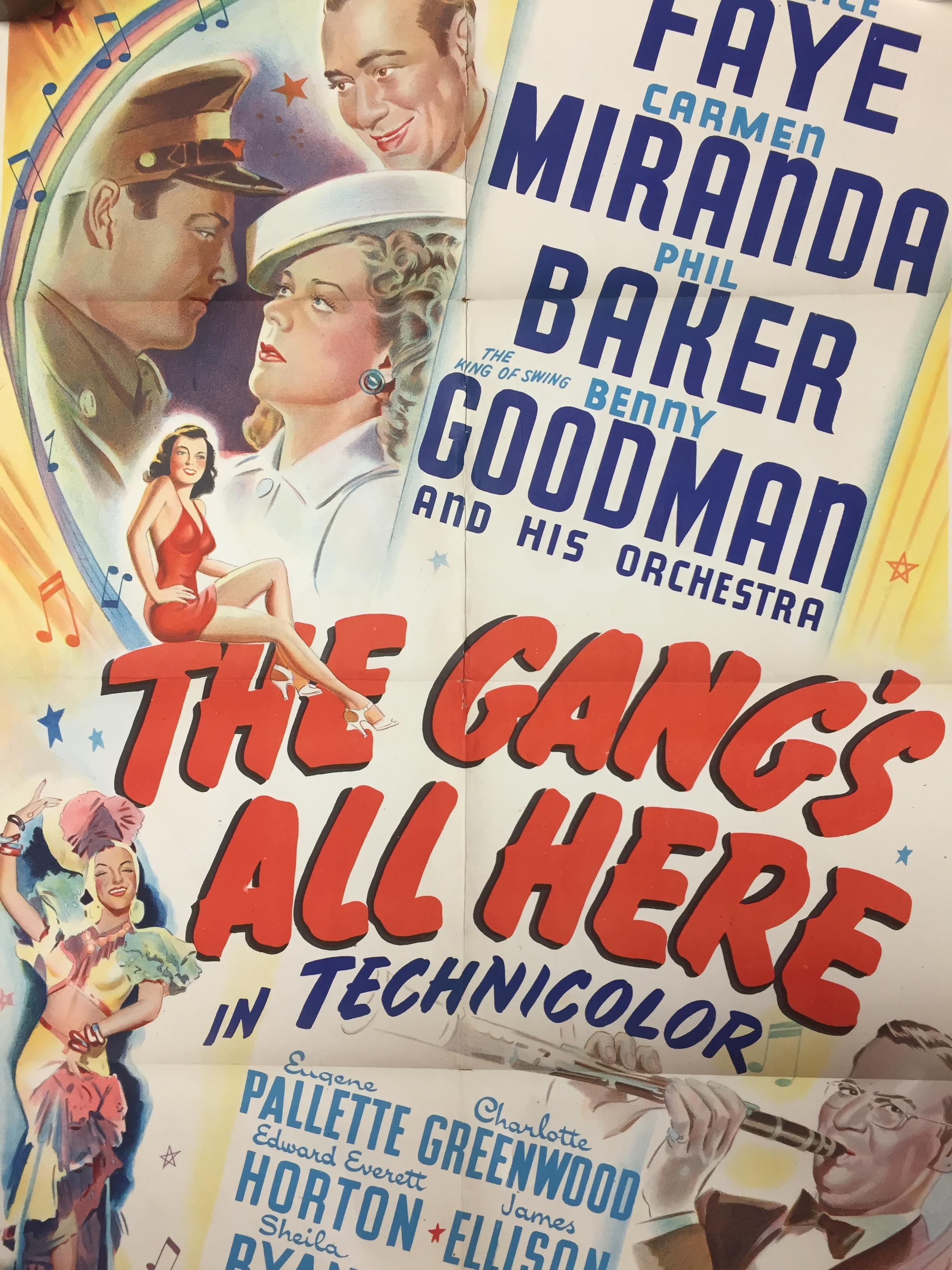 Lot 27 - 1940S COLOUR FILM POSTER 'THE GANGS ALL HERE' 68 X 102CM (POOR CONDITION)