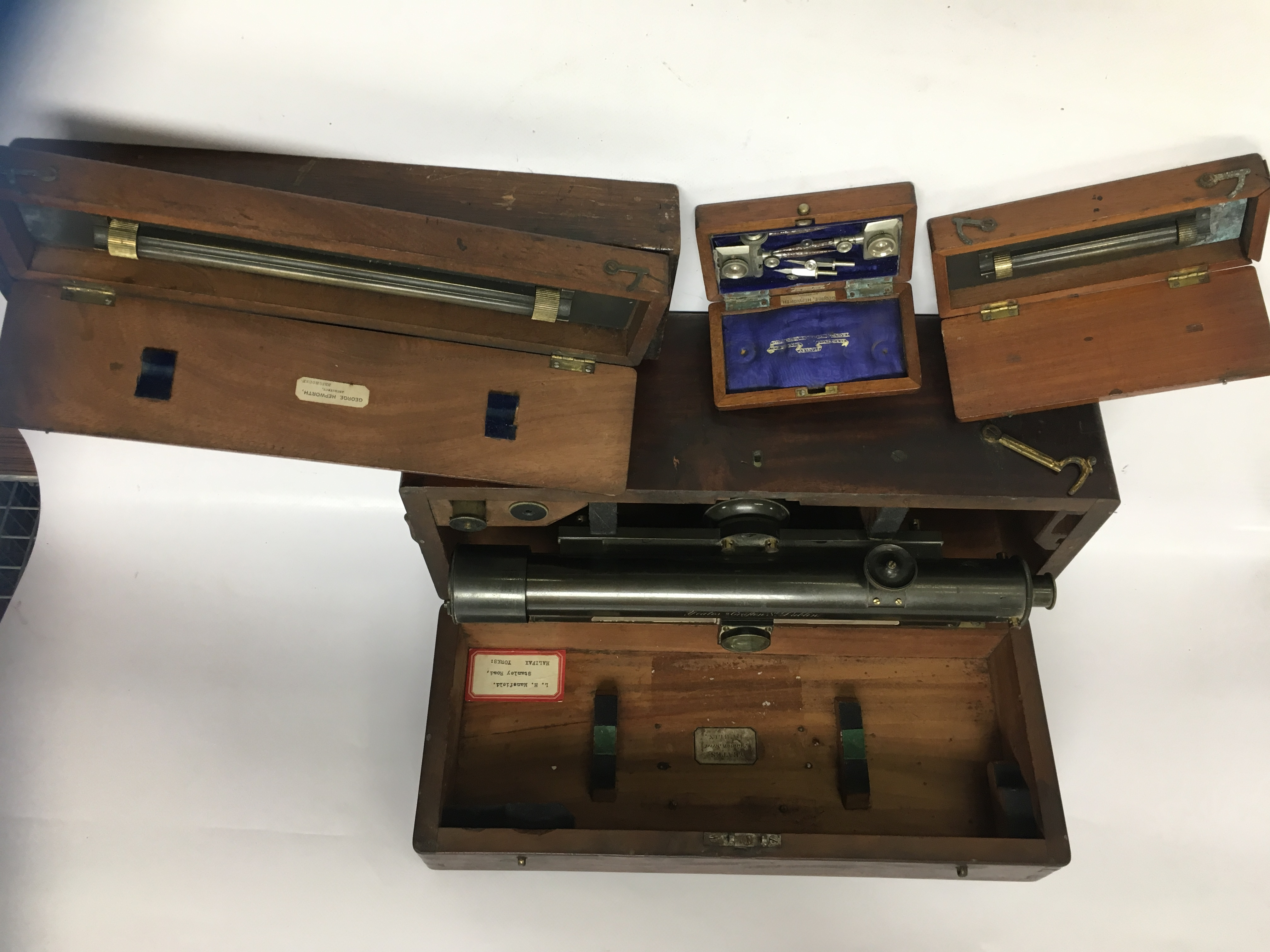 Lot 60 - CASED YEATES OF DUBLIN THEODOLITE BOXED SET OF DRAFTSMAN'S RULERS AND 2 BOXED BRASS DRAFTSMANS