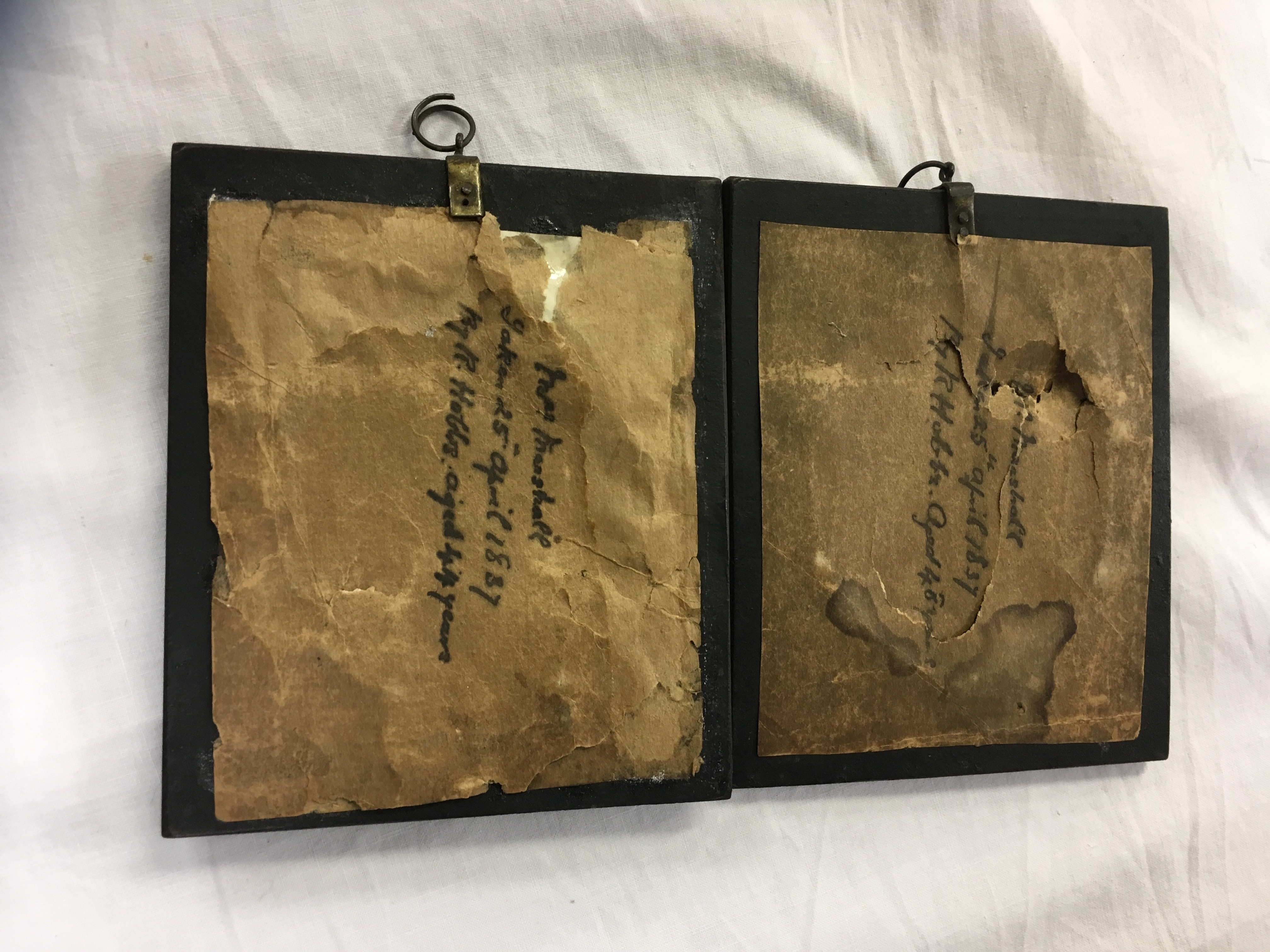 Lot 84 - TWO SILHOUETTES PICTURES, PEN INSCRIPTION TO THE REVERSE - MR AND MRS MARSHALL,