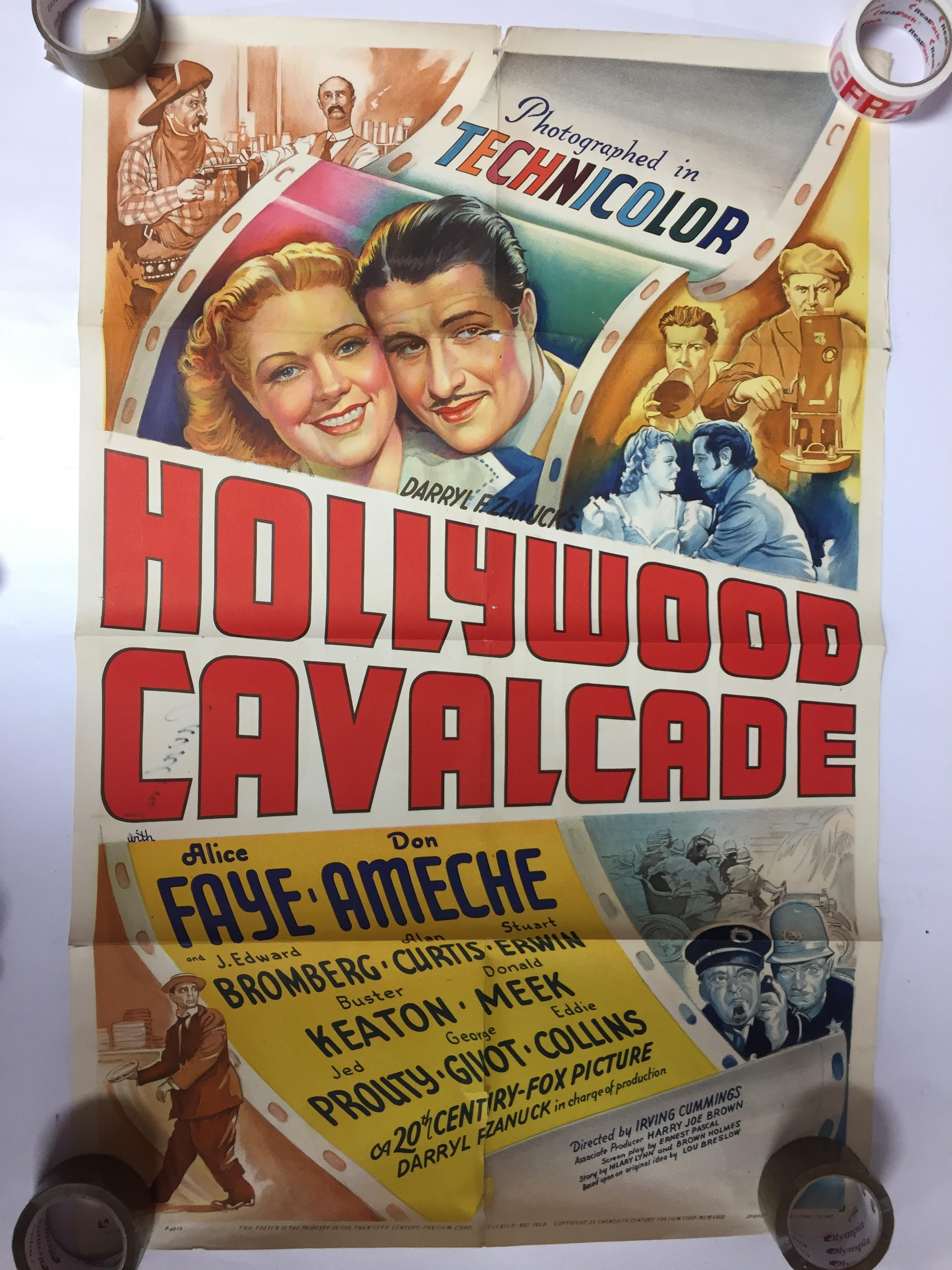 Lot 21 - 1940S COLOUR FILM POSTER 'HOLLYWOOD CAVALCADE' 68 X 102CM (POOR CONDITION)