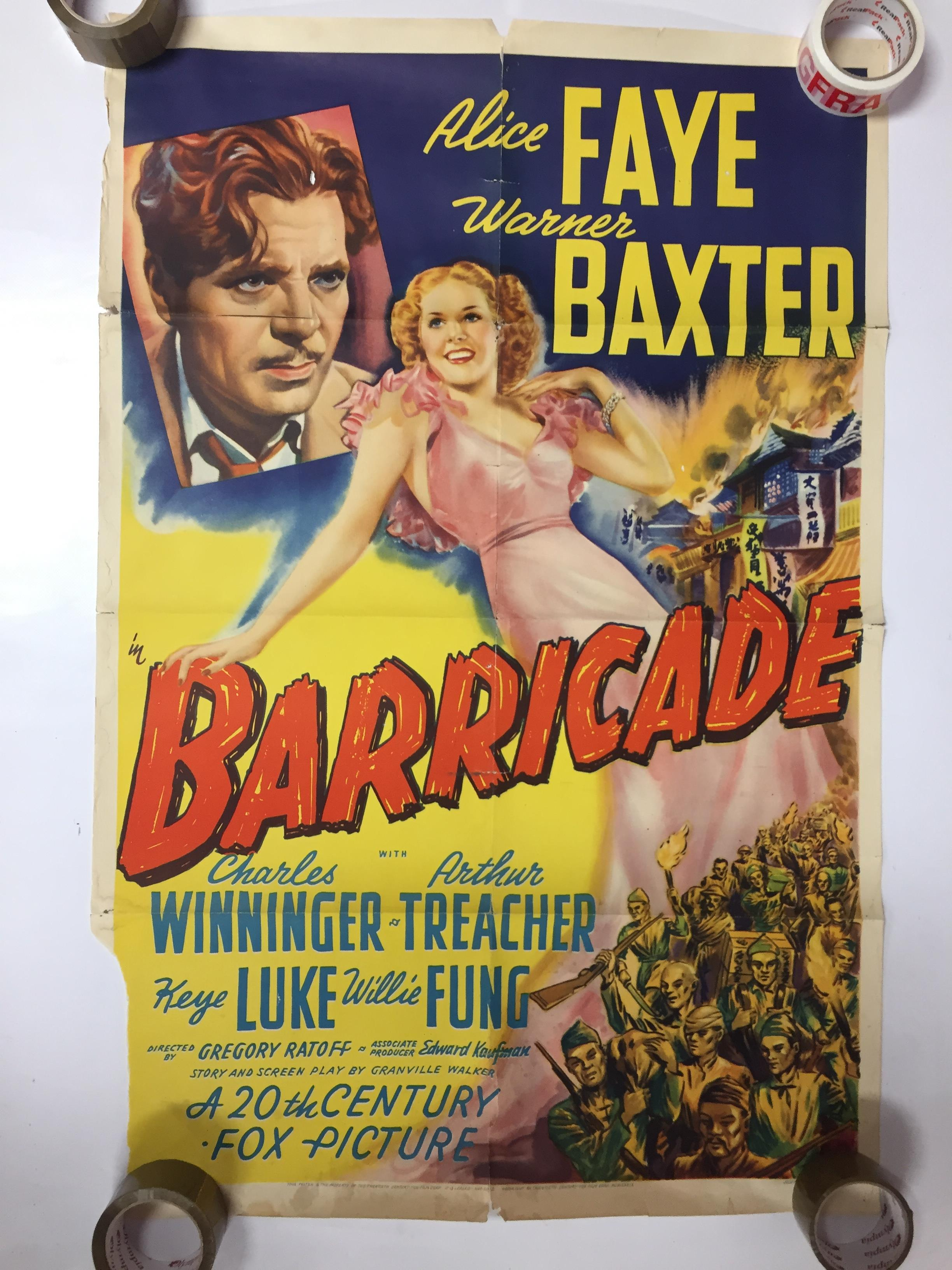 Lot 25 - 1940S COLOUR FILM POSTER 'BARRICADE' 68 X 102CM (POOR CONDITION)
