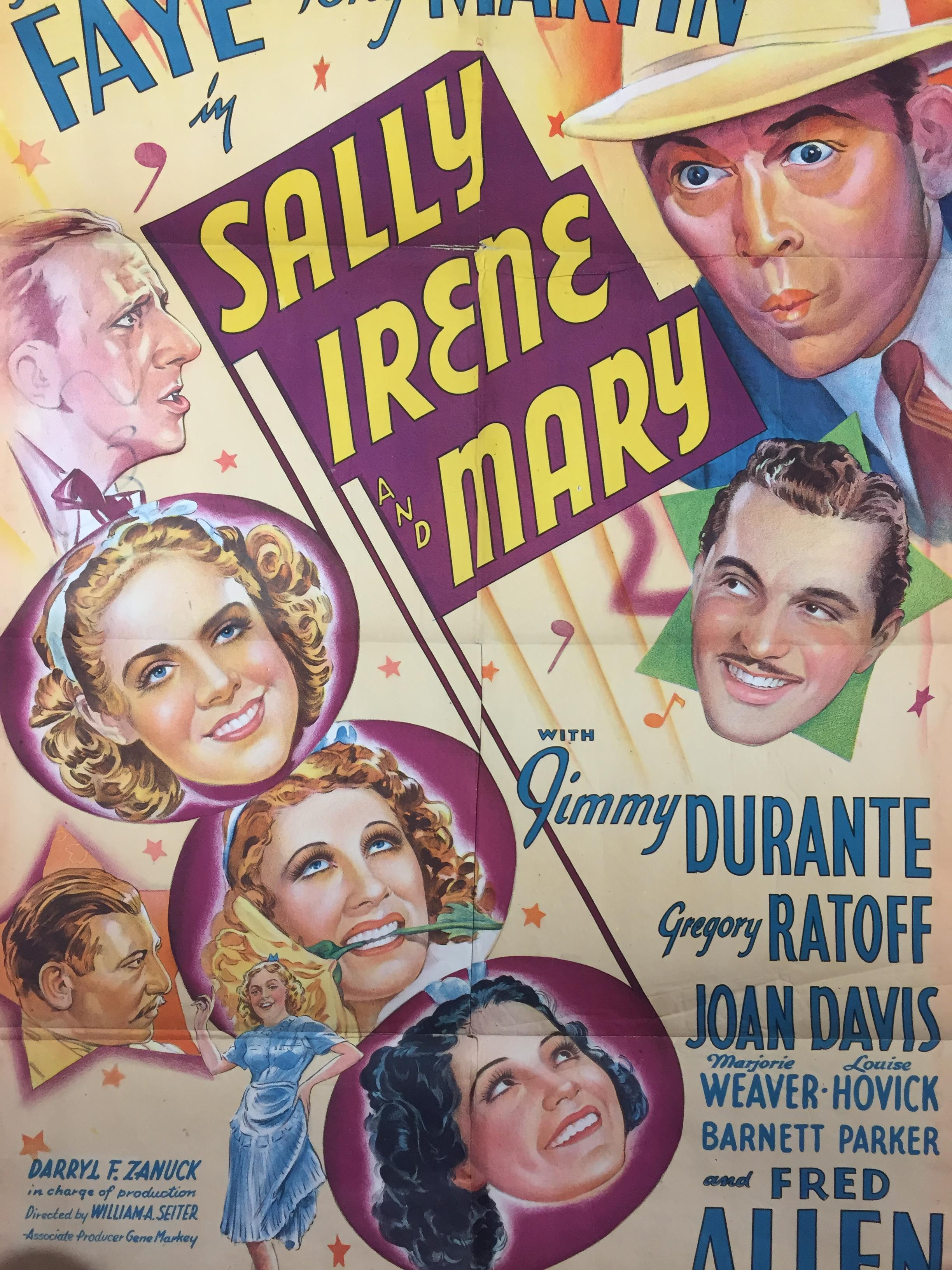 Lot 26 - 1940S COLOUR FILM POSTER 'SALLY IRENE AND MARY' 68 X 102CM (POOR CONDITION)