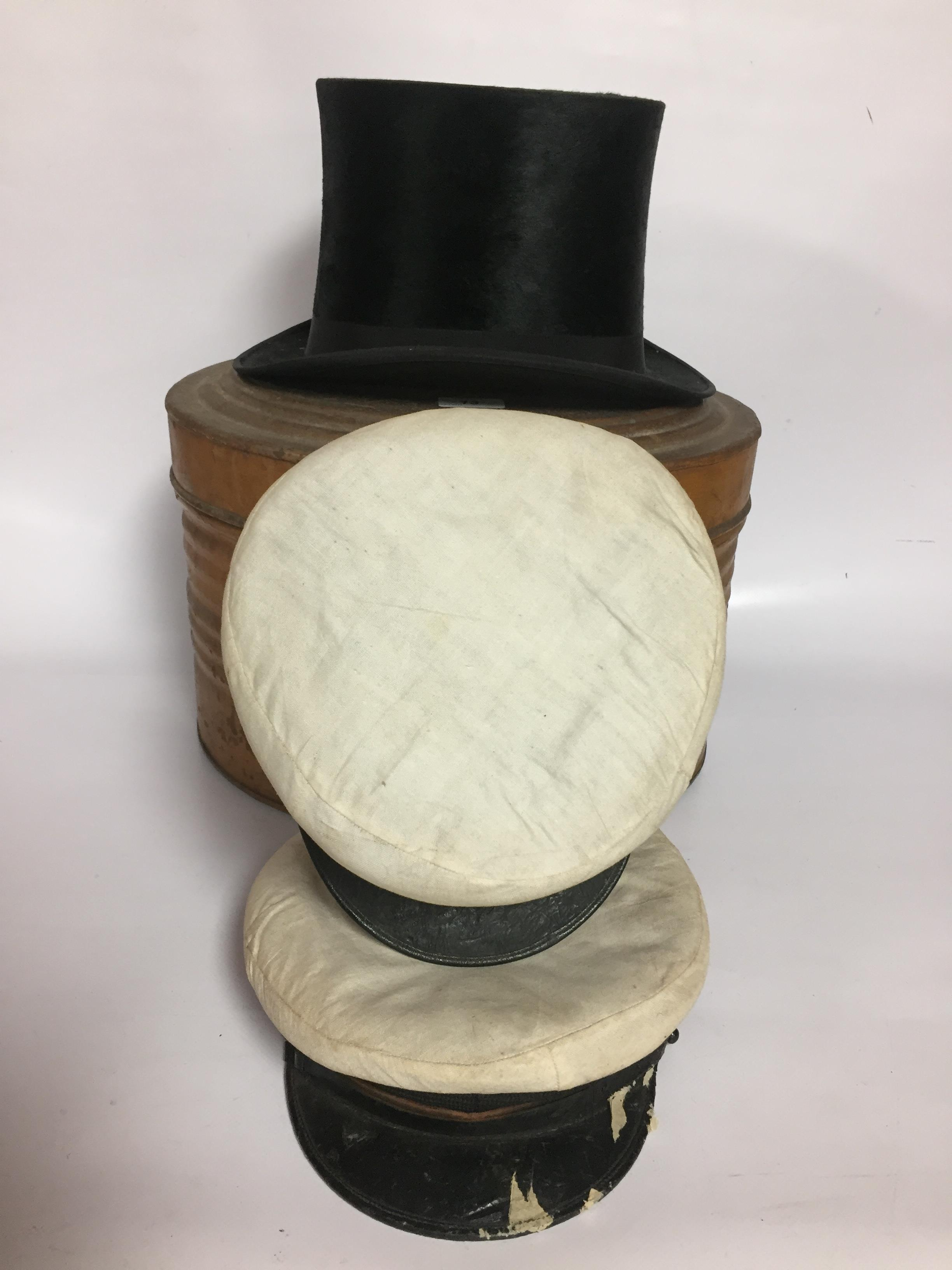 Lot 13 - VINTAGE TOP HAT IN HAT TIN ALONG WITH 2 SAILORS CAPS.