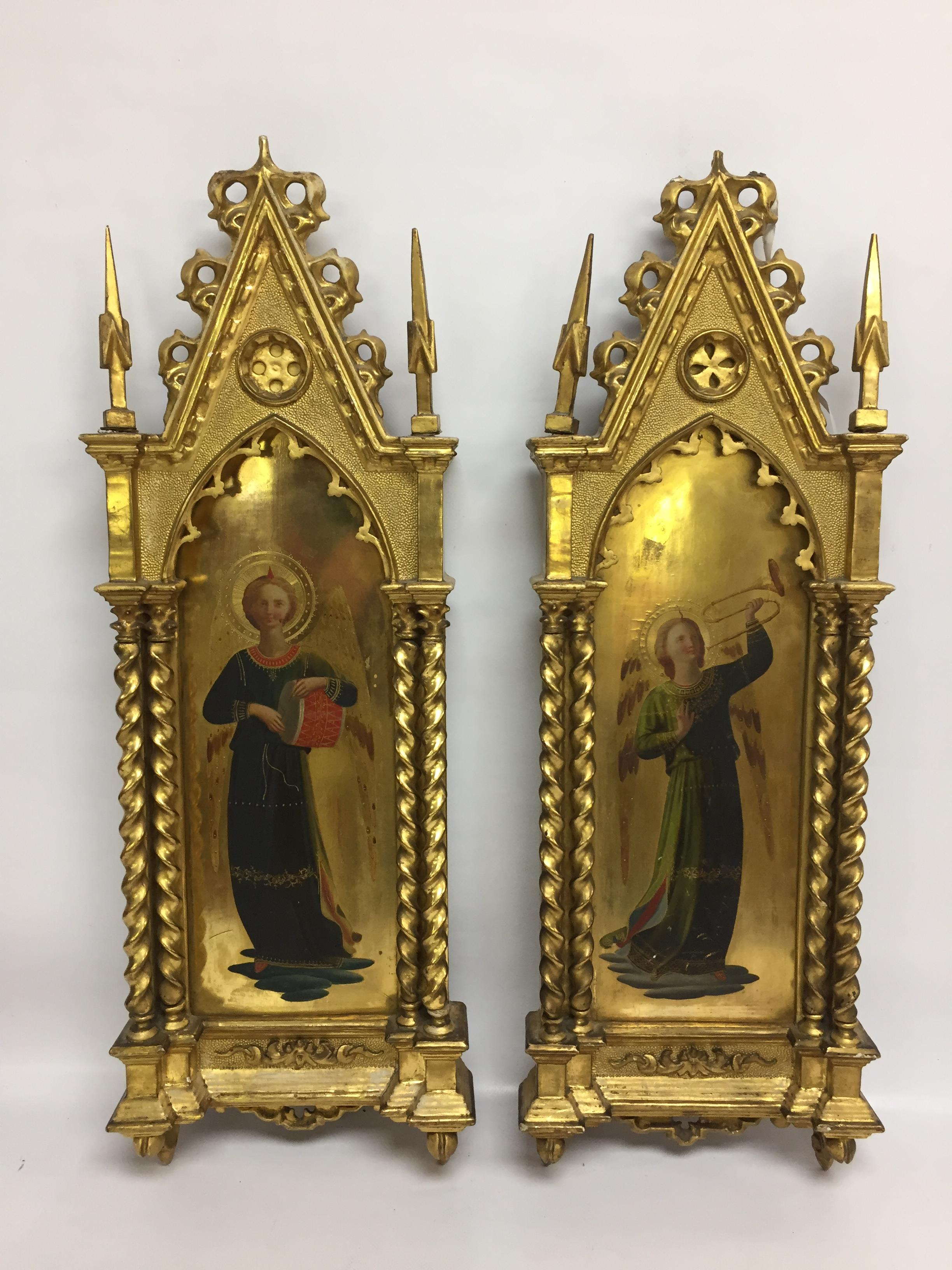 Lot 32 - A PAIR OF 19TH CENTURY ITALIAN ANTIQUE GILT WOOD PAINTED ICONS BEARING LABEL PATT GALLERY TO BACK