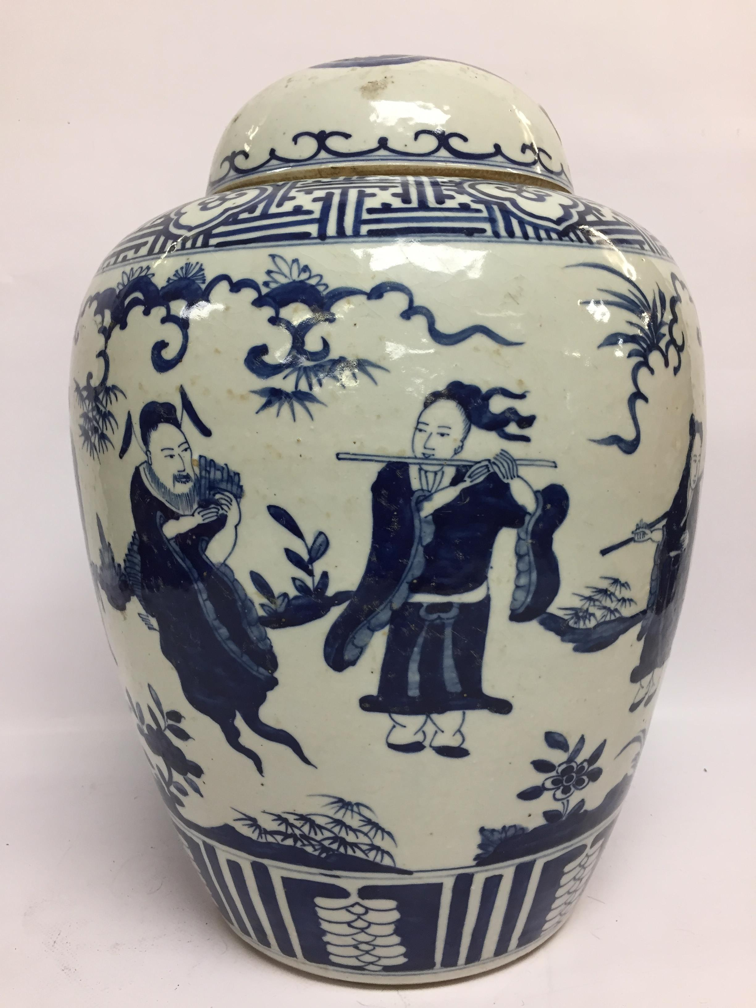 Lot 48 - LARGE BLUE AND WHITE GINGER JAR WITH COVER, DECORATED WITH CHINESE FIGURES,