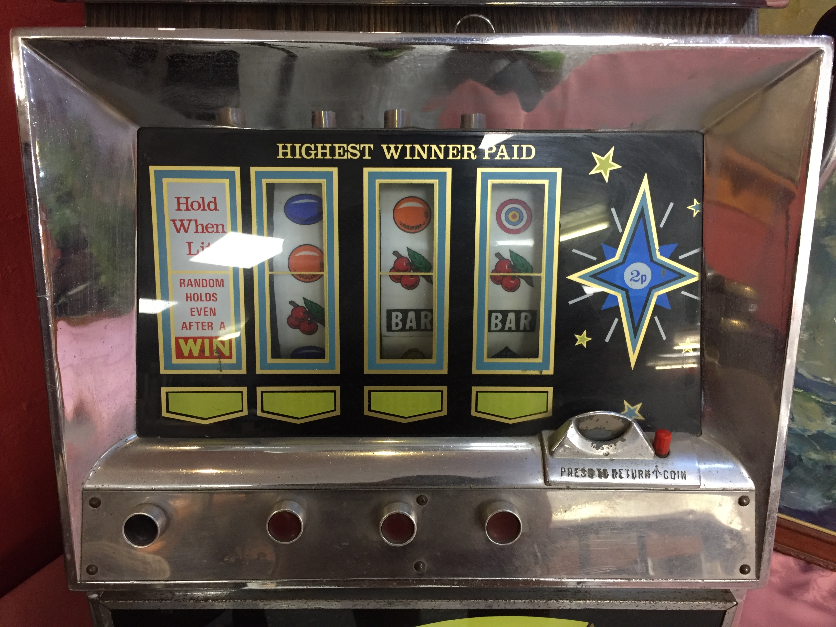 Lot 55 - SUPER BLUE STAR 1970'S CHROME FRUIT MACHINE COLLECTOR'S ITEM ONLY (WITH KEYS)