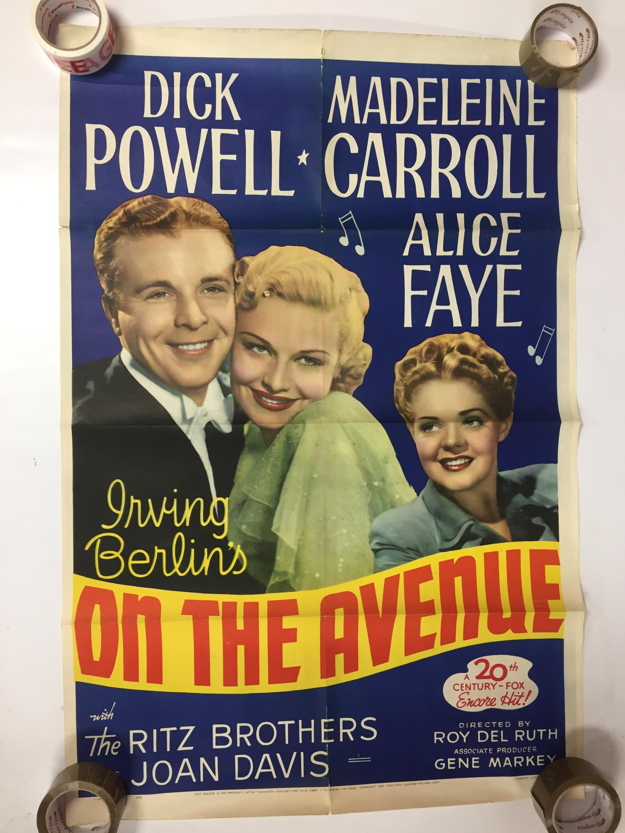 1940S COLOUR FILM POSTER 'ON THE AVENUE' 68 X 102CM (POOR CONDITION)