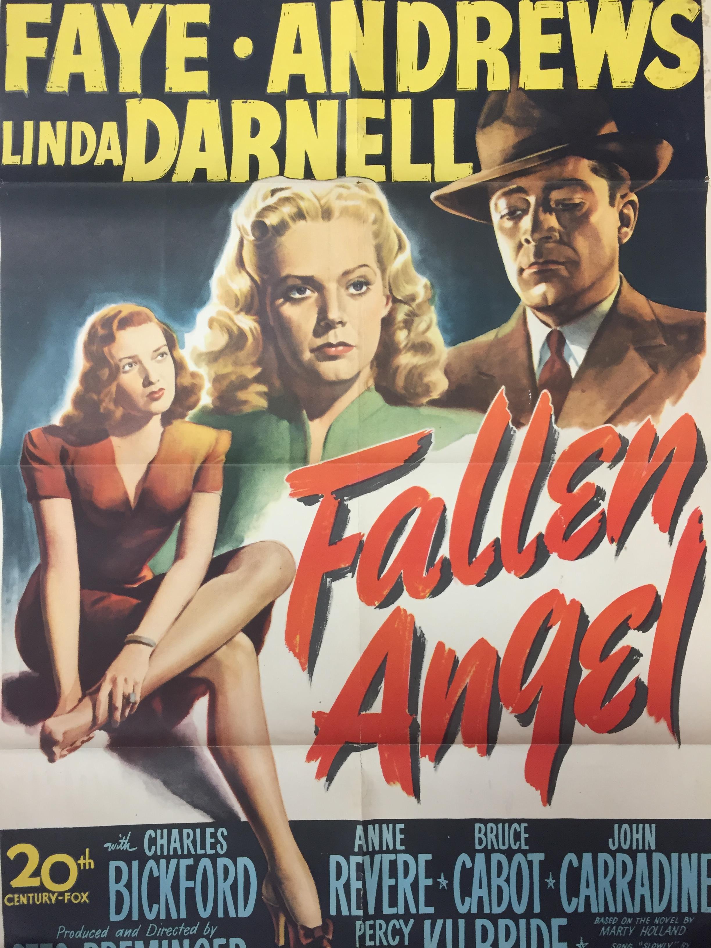 Lot 22 - 1940S COLOUR FILM POSTER 'FALLEN ANGEL' 68 X 102CM (POOR CONDITION)