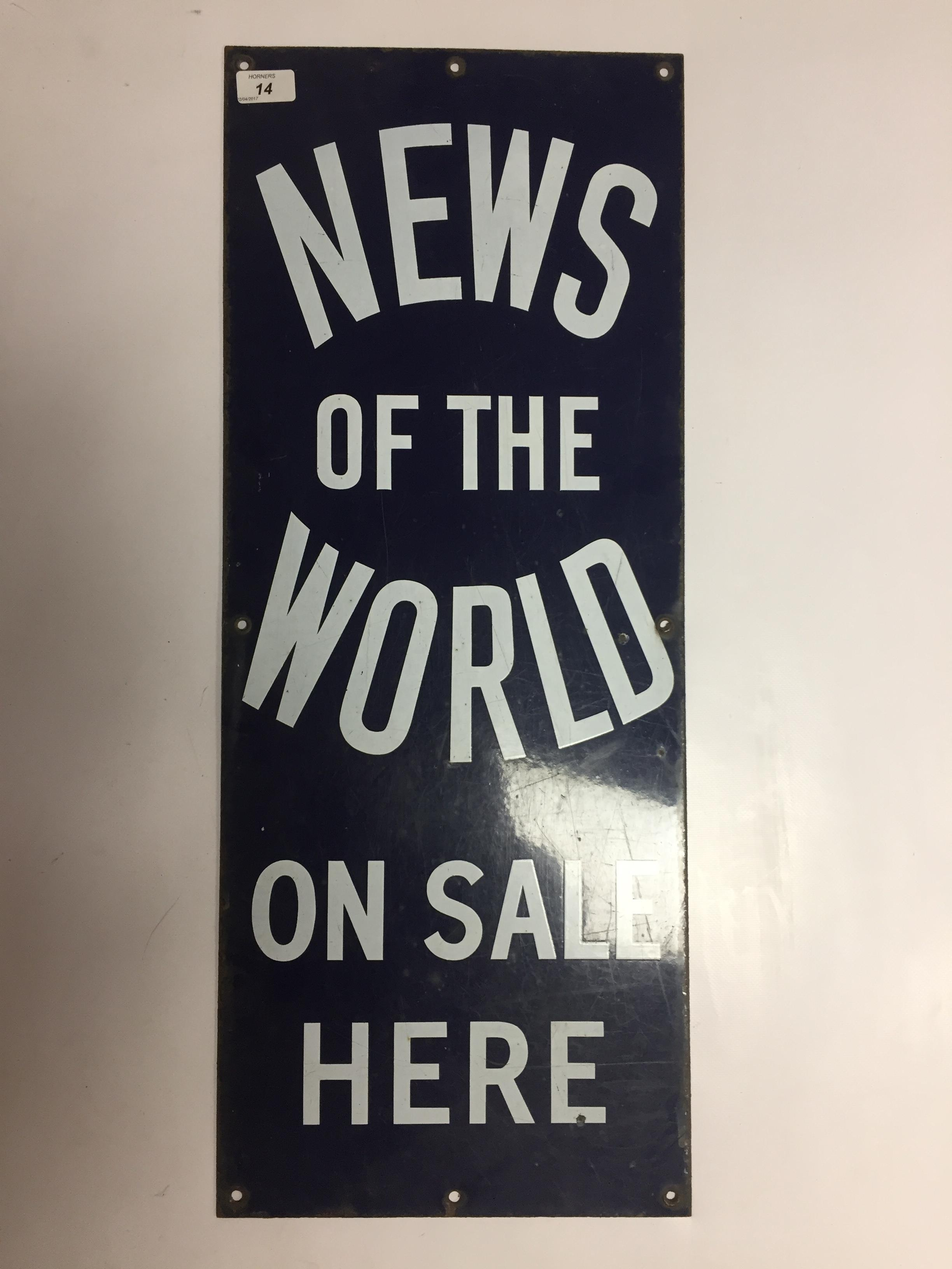 ENAMEL ADVERTISING SIGN ' NEWS OF THE WORLD' 31 X 76CM