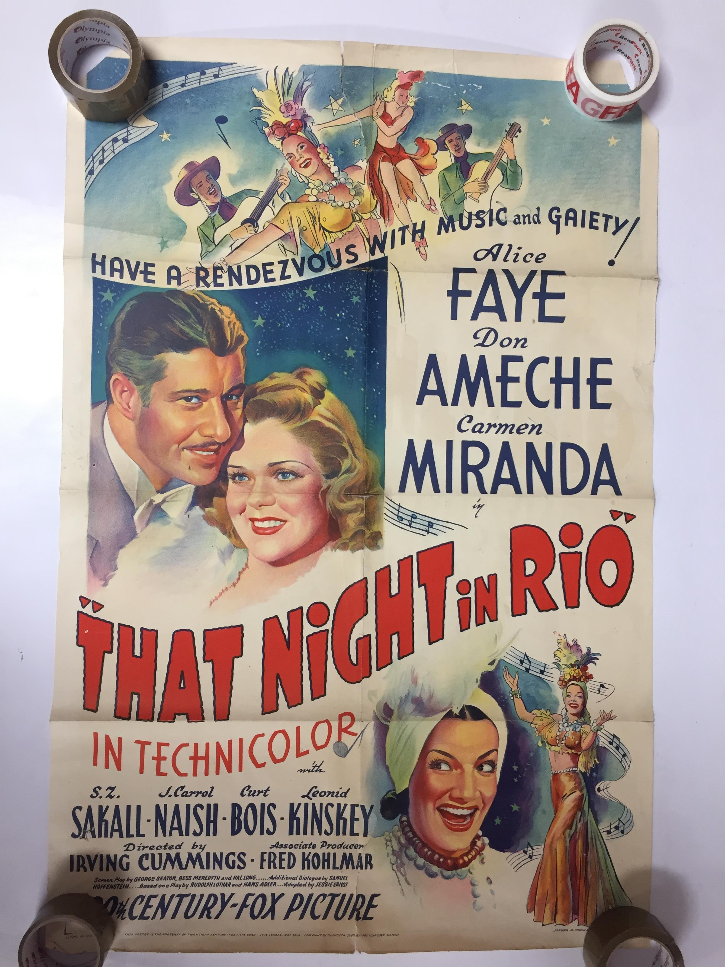Lot 28 - 1940S COLOUR FILM POSTER 'THAT NIGHT IN RIO' 68 X 102CM (POOR CONDITION)