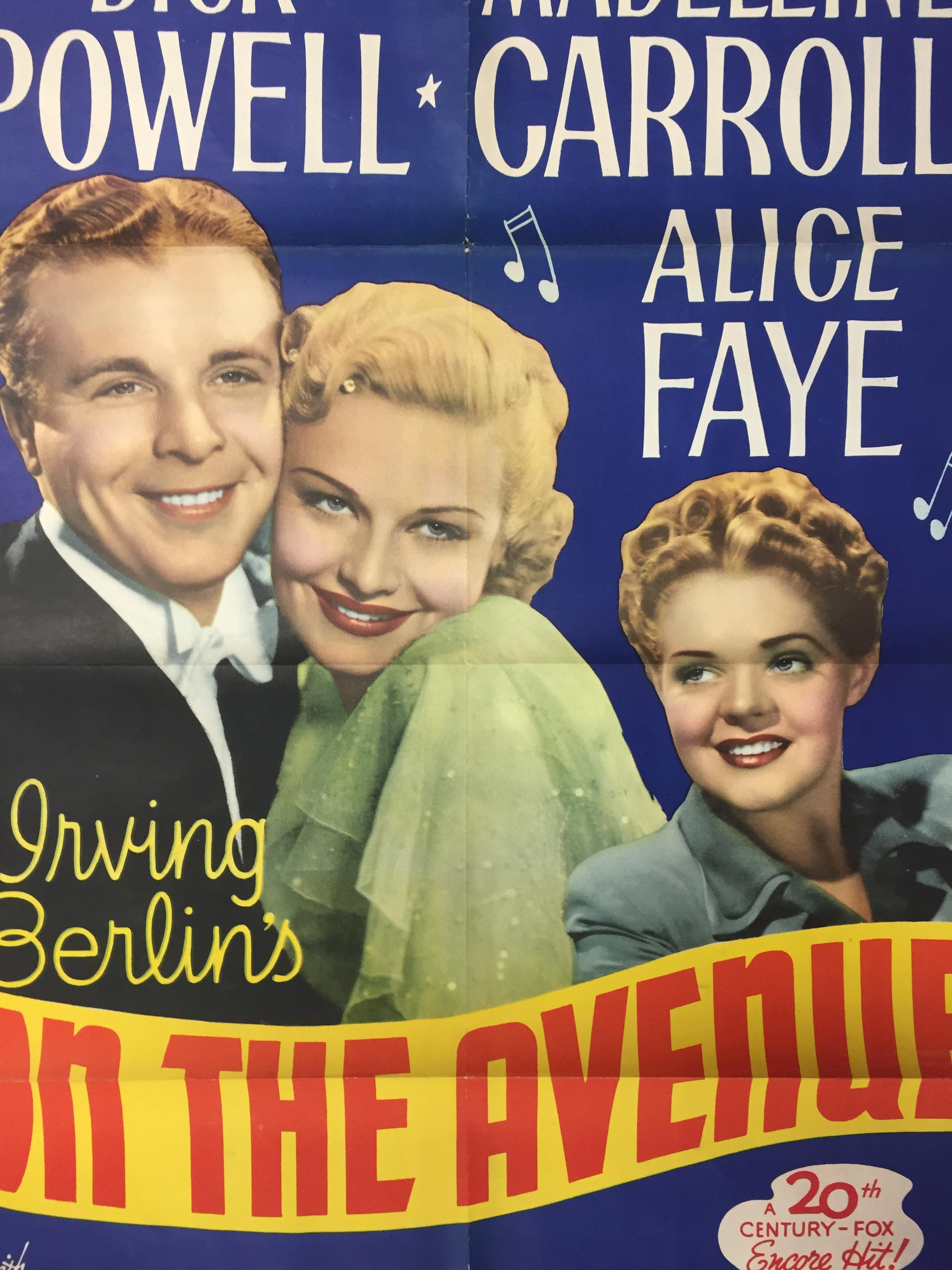 1940S COLOUR FILM POSTER 'ON THE AVENUE' 68 X 102CM (POOR CONDITION) - Image 2 of 2
