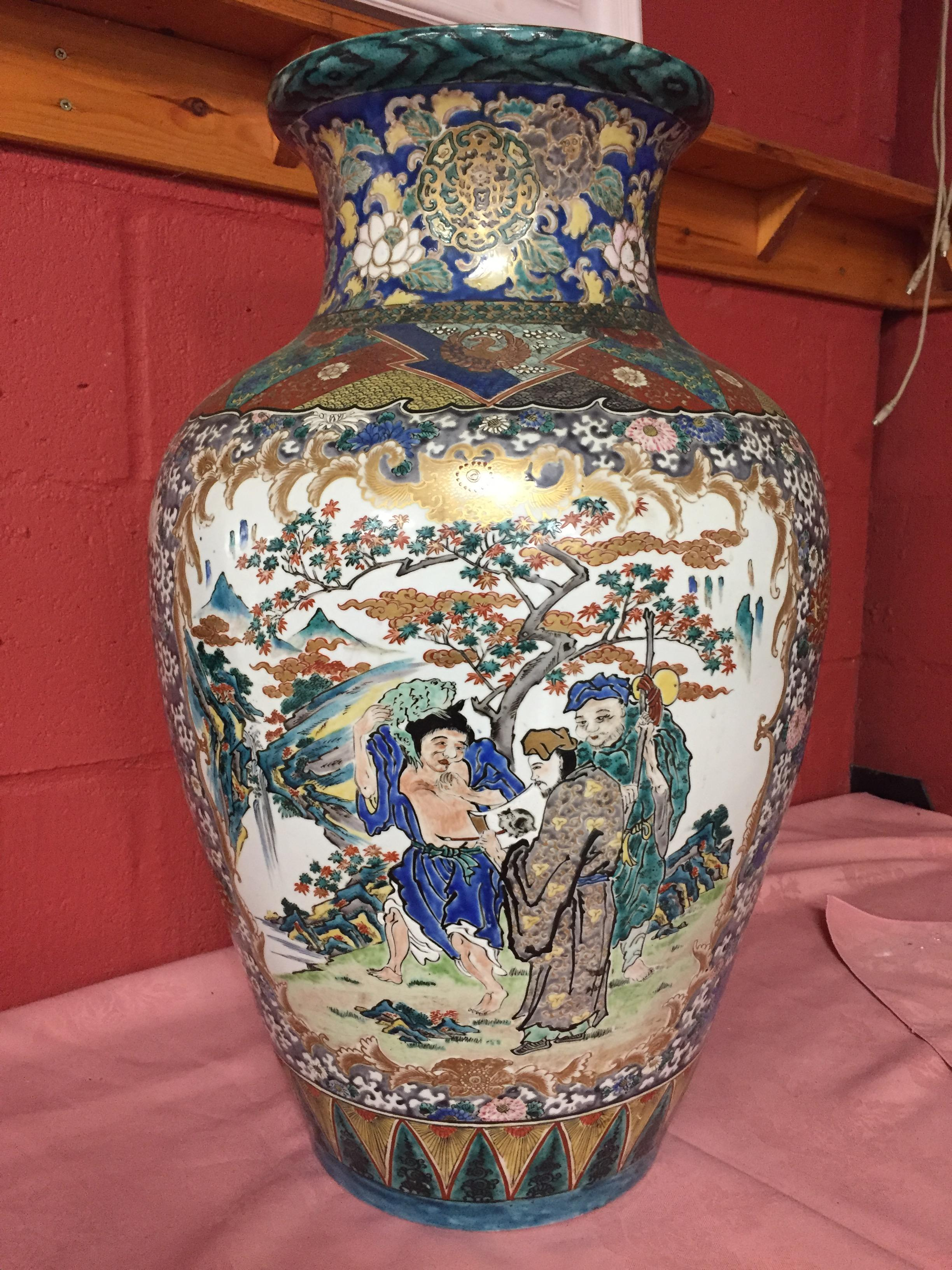Lot 47 - LARGE POLYCHROME ORIENTAL VASE DECORATED WITH MOUNTAINOUS SCENES PANEL 65 CM