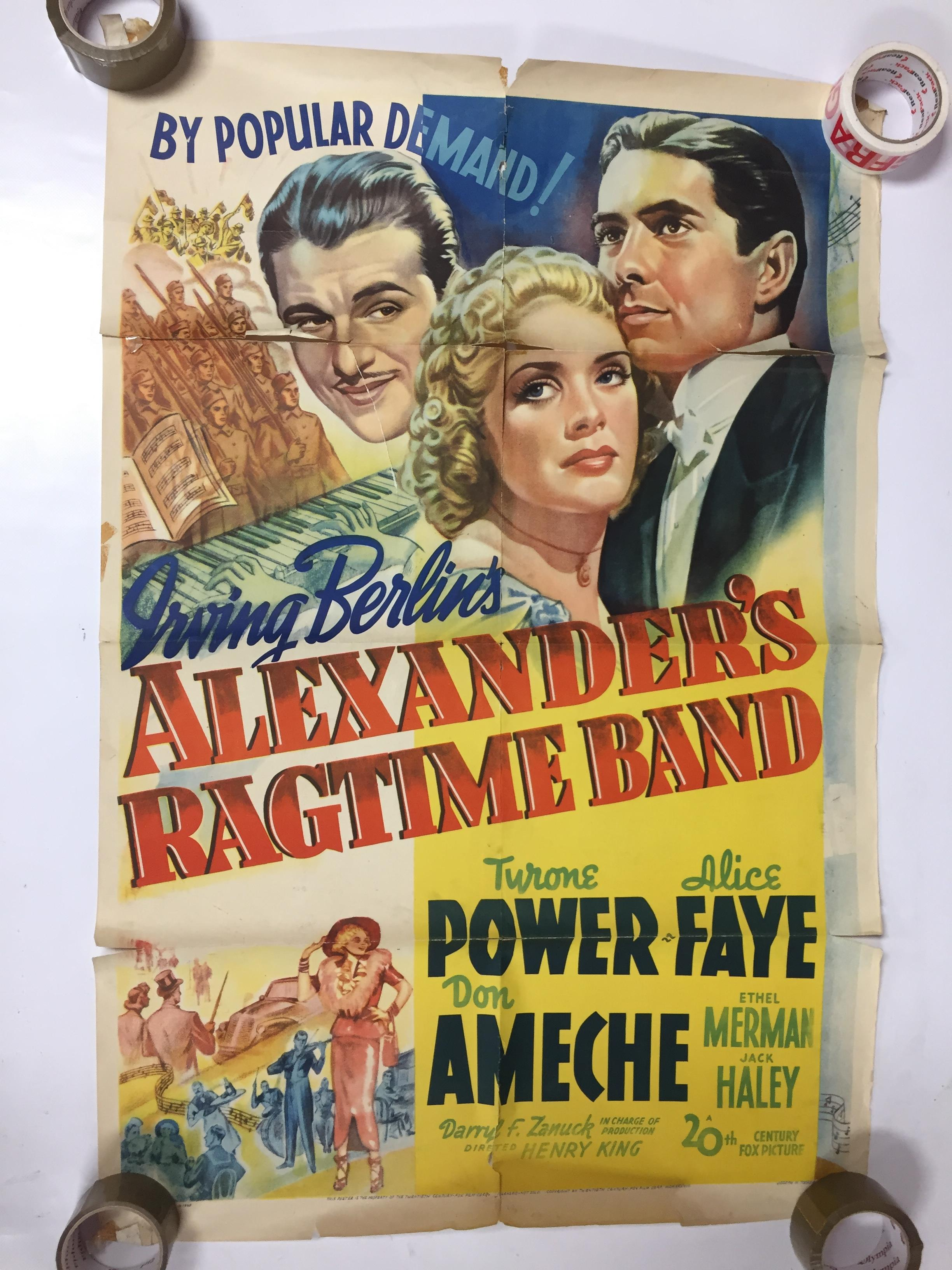 Lot 31 - 1940S COLOUR FILM POSTER 'ALEXANDER'S RAGTIME BAND' 68 X 102CM (POOR CONDITION)