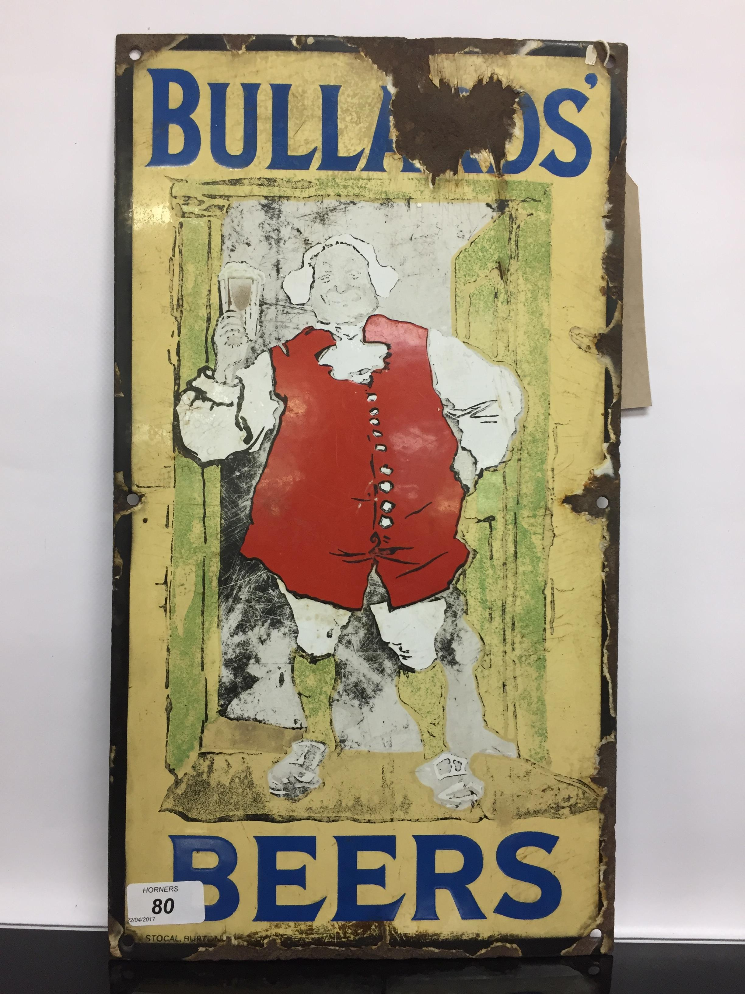 Lot 80 - BULLARDS BEER ENAMEL ADVERTISING SIGN,
