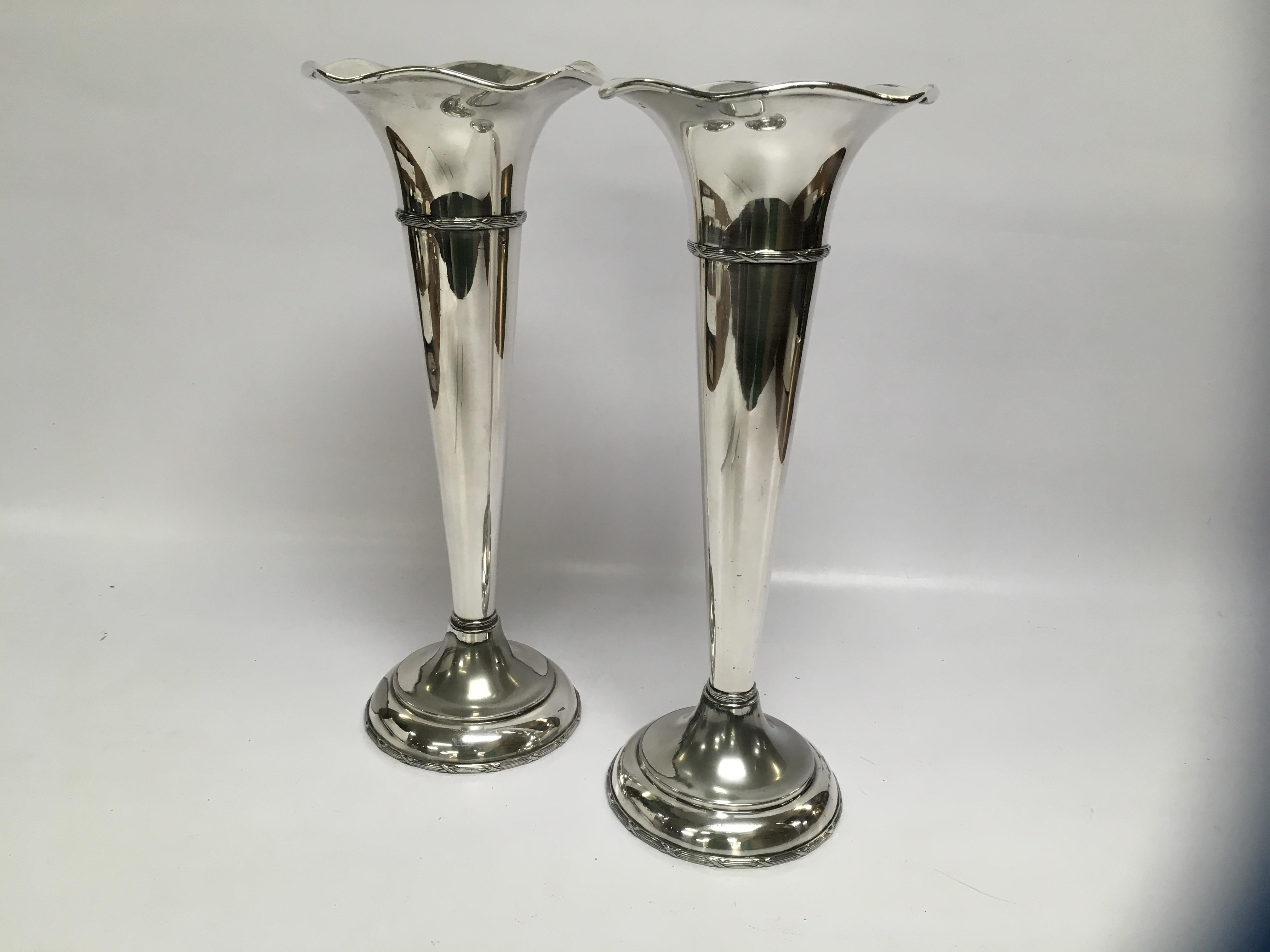 Lot 50 - PAIR OF LARGE SILVER PLATED TRUMPET VASES,