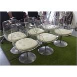 ERWINE AND ESTELLE LAVERNE CHAMPAGNE CHAIRS, a set of six, perspex,