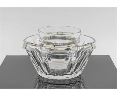 BACCARAT CRYSTAL CAVIAR DISH, with silver plated mounts.