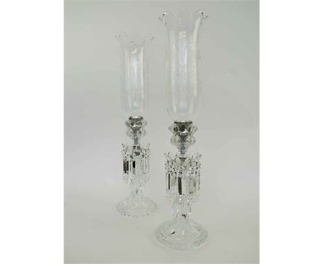 BACCARAT CRYSTAL FRANCE, a pair of storm lamp lustres with acid etched shades, circa 1970, 55cm H overall.