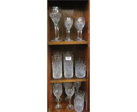A Stuart Crystal part suite of glasses:- Five white wine, two red wine, six water glasses, six liquer glasses, four small whi