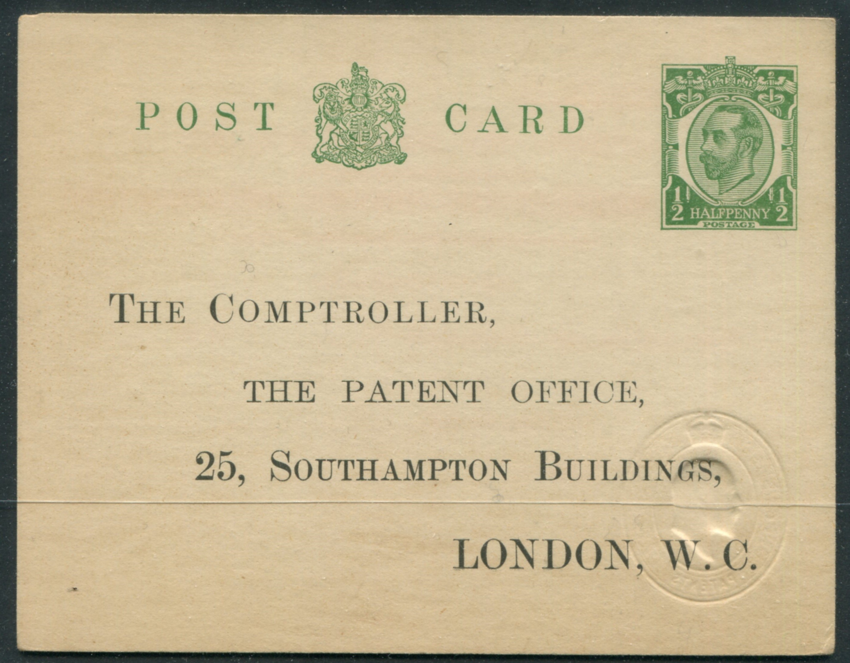 POSTAL STATIONERY POST CARD PATENT FORM KGV - IMPRINTED & EMBOSSED REVENUE STAMP - Image 2 of 2