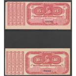 QV CANADA EXCISE STAMPS SERIES OF 1897 TEN & FIFTEEN POUNDS TOBACCO