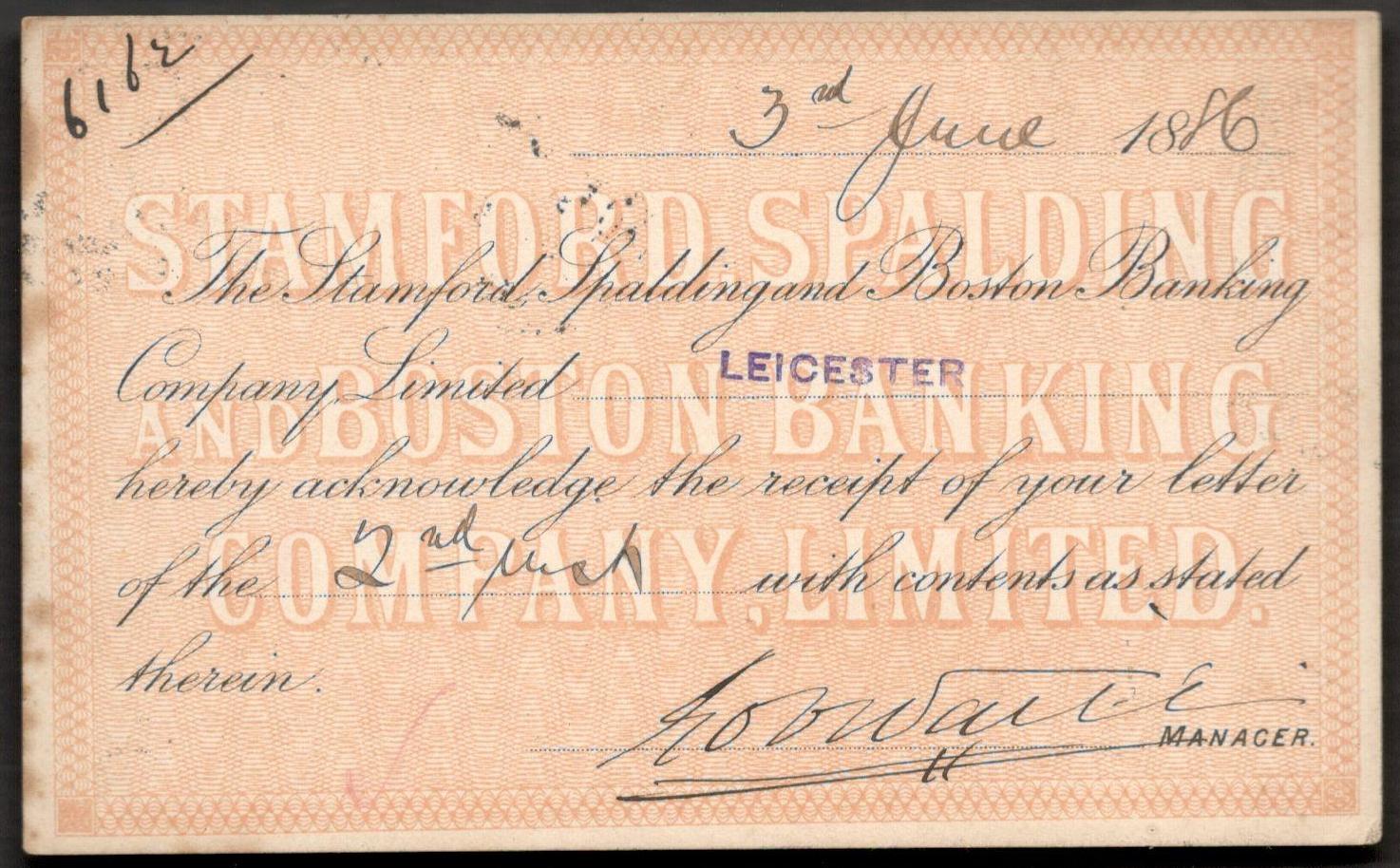 QV POSTAL STATIONERY CARD 1886 STAMFORD SPALDING