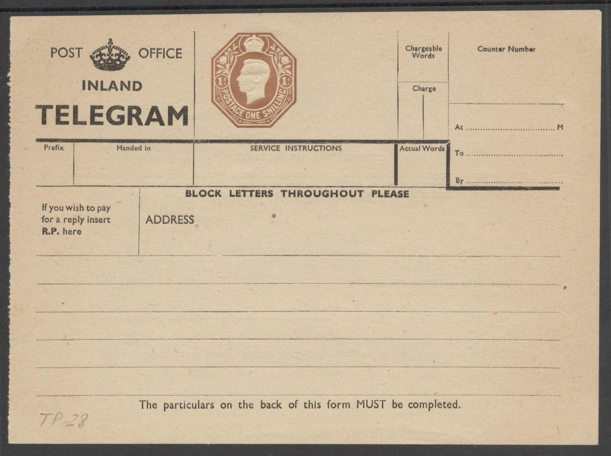 POST OFFICE INLAND TELEGRAM 1940 KGVI TELEGRAPH FORM 1 SHILLING TP28
