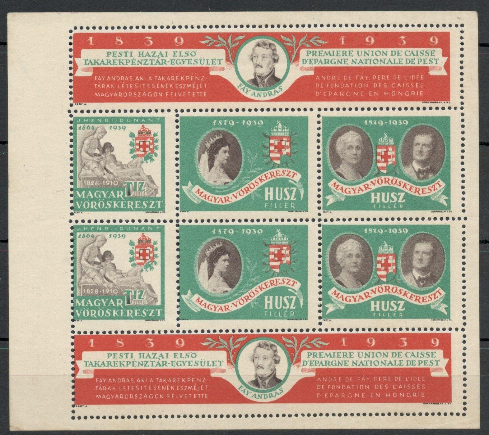 1939 SOUVENIR SHEET CENTENARY OF THE NATIONAL RED CROSS SAVINGS FUND IN HUNGARY