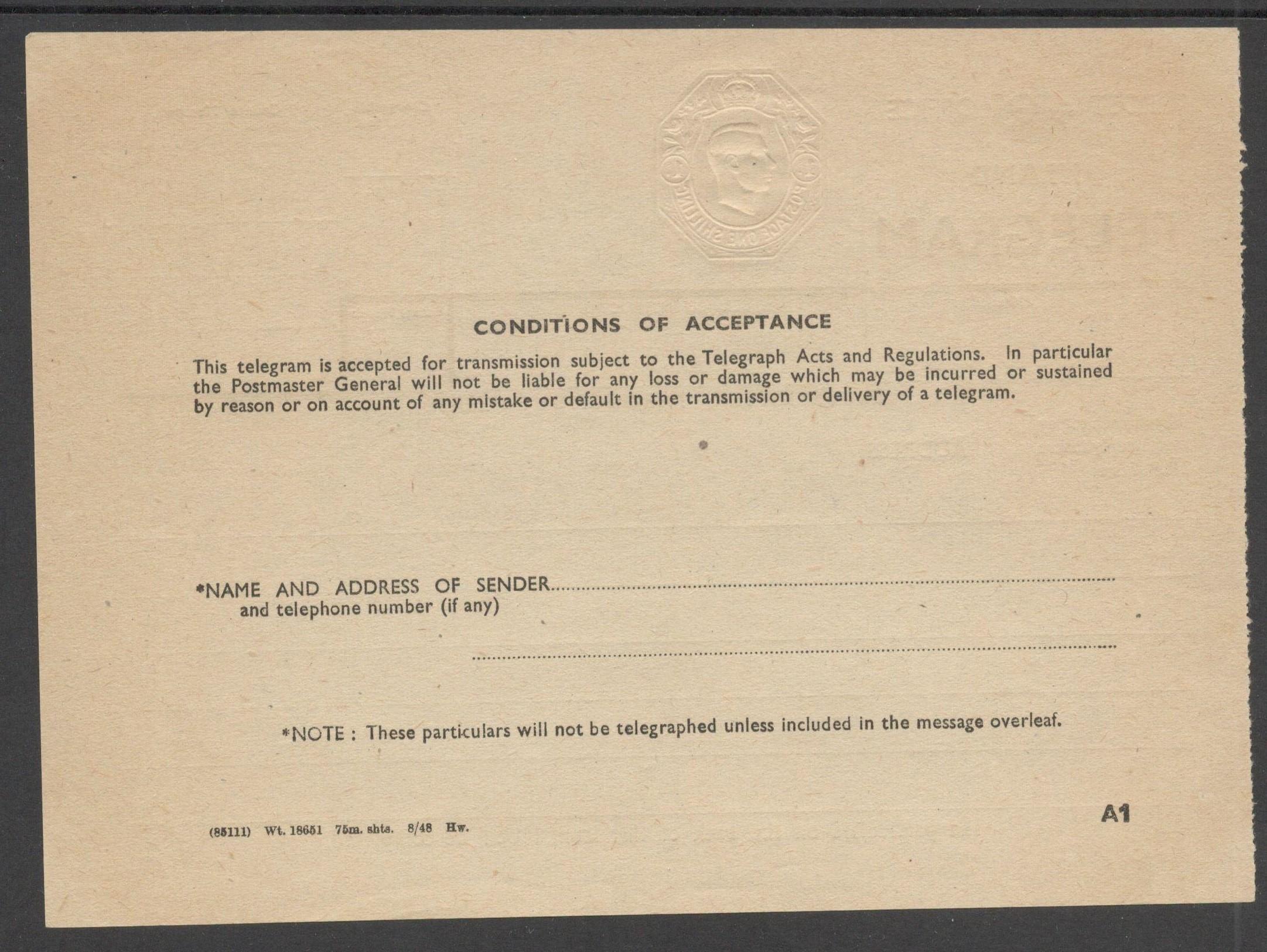POST OFFICE INLAND TELEGRAM 1940 KGVI TELEGRAPH FORM 1 SHILLING TP28 - Image 2 of 2