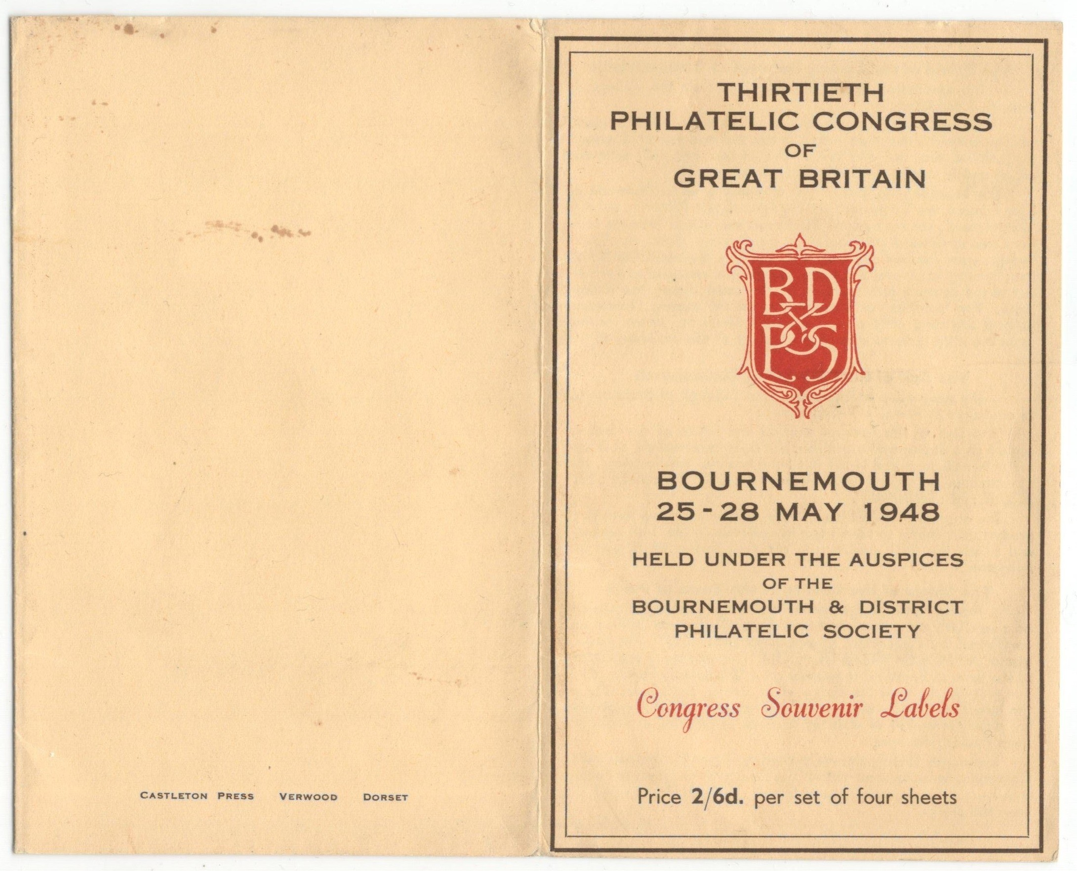 Lot 4 - 1948 BOURNEMOUTH Philatelic Congress of GB - Congress Souvenir Labels