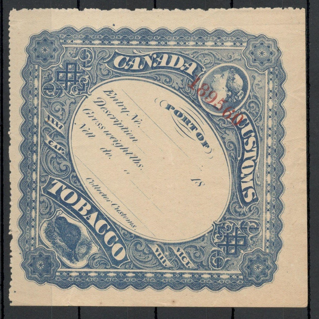 CANADA CUSTOMS TOBACCO ENTRY LABEL - Image 2 of 4