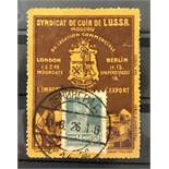 RUSSIAN ADVERTISING LABEL WITH STAMP - 14 KOP SYNDICAT DE CUIR DE L USSR - MOSCOU