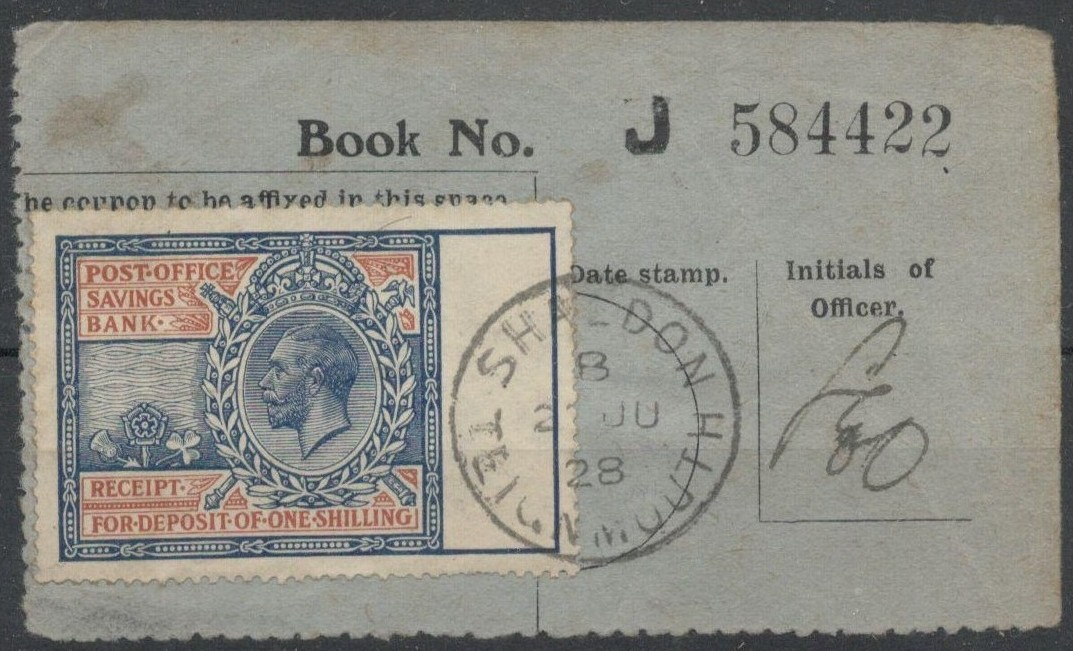 POST OFFICE SAVINGS BANK RECEIPT WITH KGV STAMP USED 1928