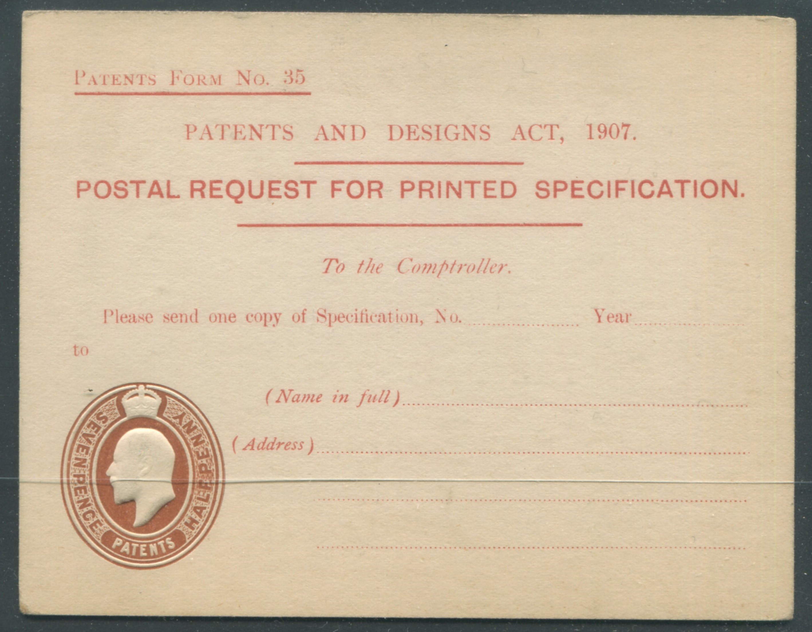 POSTAL STATIONERY POST CARD PATENT FORM KGV - IMPRINTED & EMBOSSED REVENUE STAMP