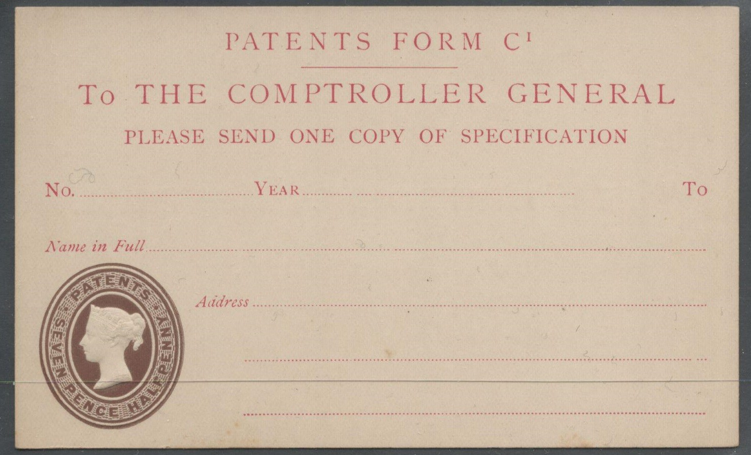 POSTAL STATIONERY POST CARD PATENT FORM QUEEN VICTORIA - SEVEN PENCE HALFPENNY PATENT REVENUE STAMP