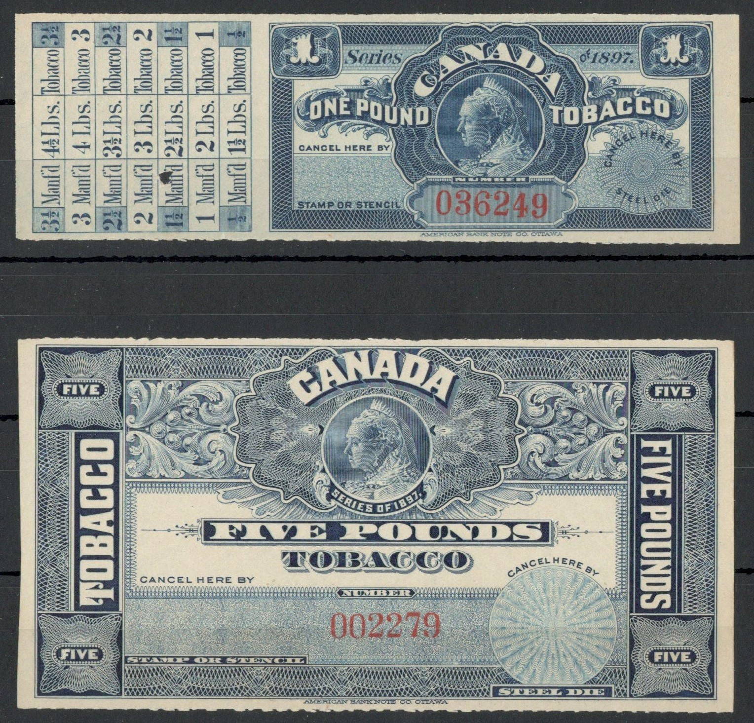CANADA CUSTOMS TOBACCO ENTRY LABEL
