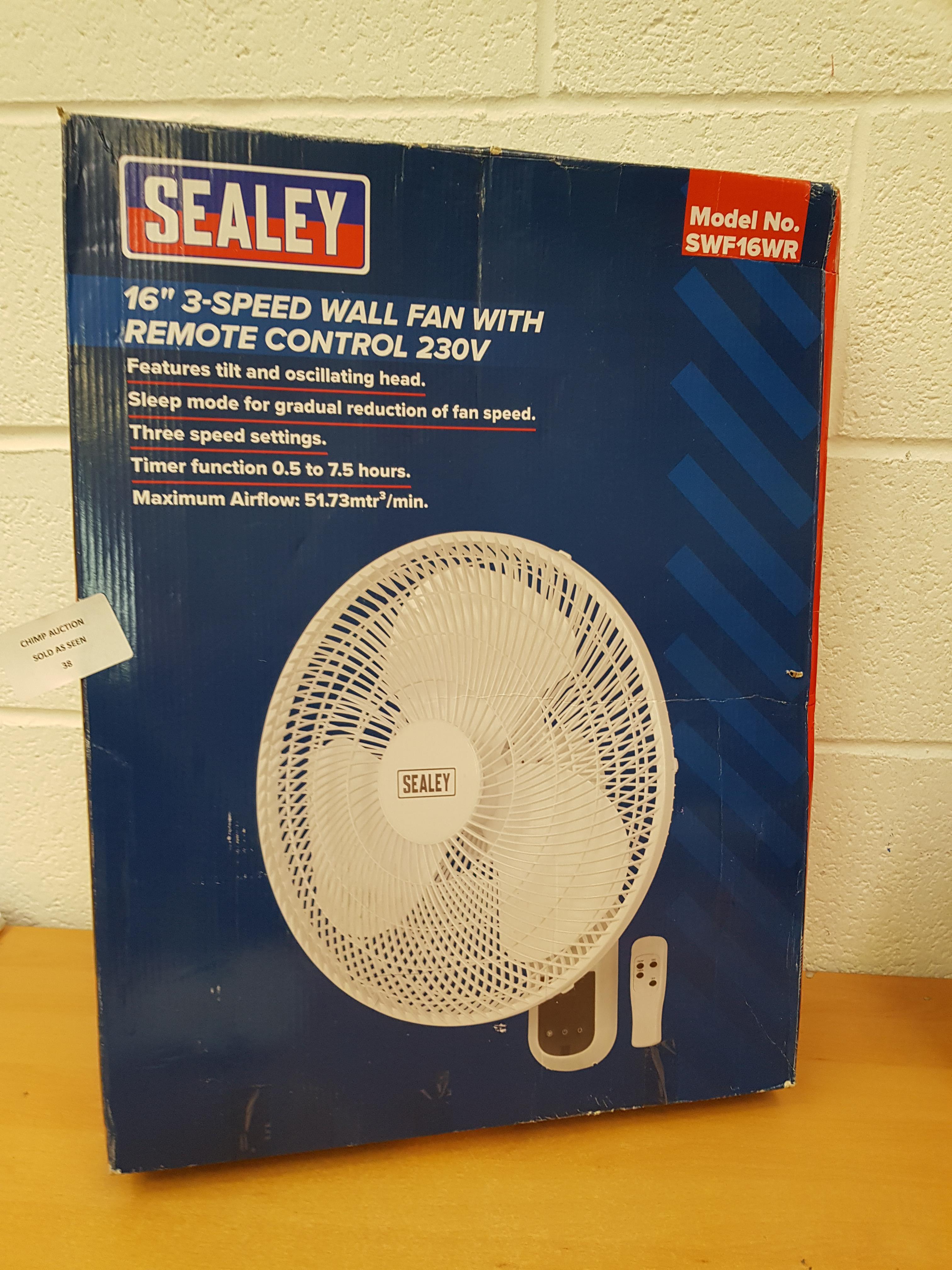 """Lot 38 - Sealey SWF16WR 16"""" 3 speed Fan"""