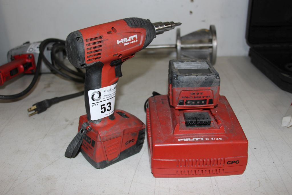 Lot 53 - Hilti cordless impact, model S/W 144-A, with charger & 2 batteries
