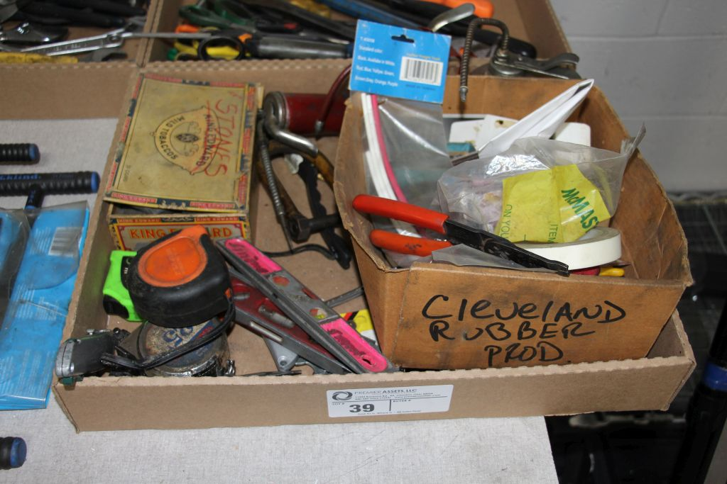 assortment of tape measures, oiler, levels & misc.