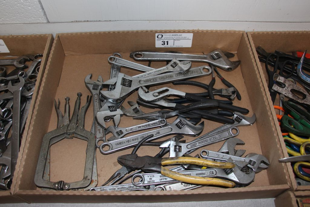 """assortment of crescent wrenches, 6"""" - 12"""" & misc."""