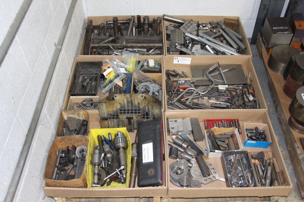 skid of drills, chucks, tap, end mills & misc