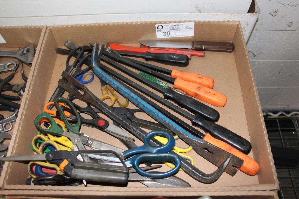 assortment of scissors, crowbar & misc.