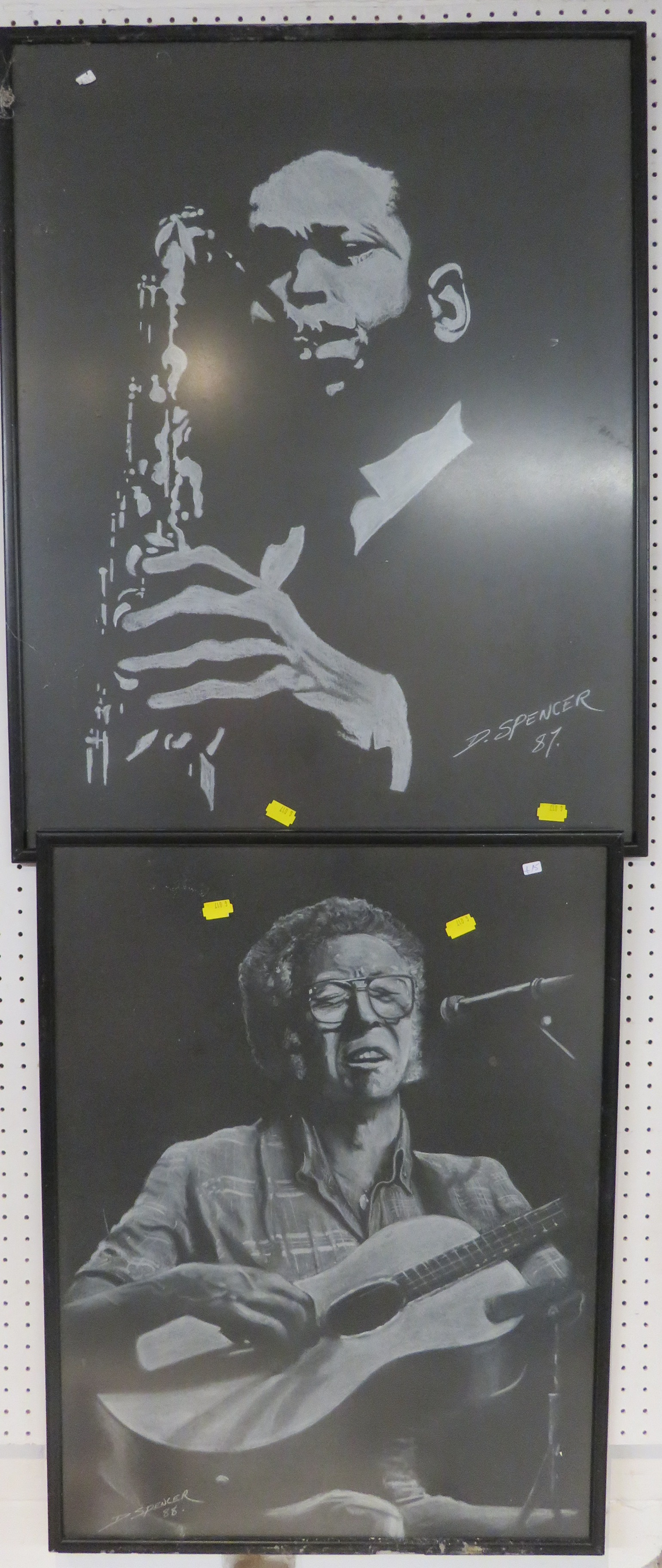 Lot 42 - Two portraits of musicians, white chalk on black paper, Guitarist, signed and dated D. Spencer 88