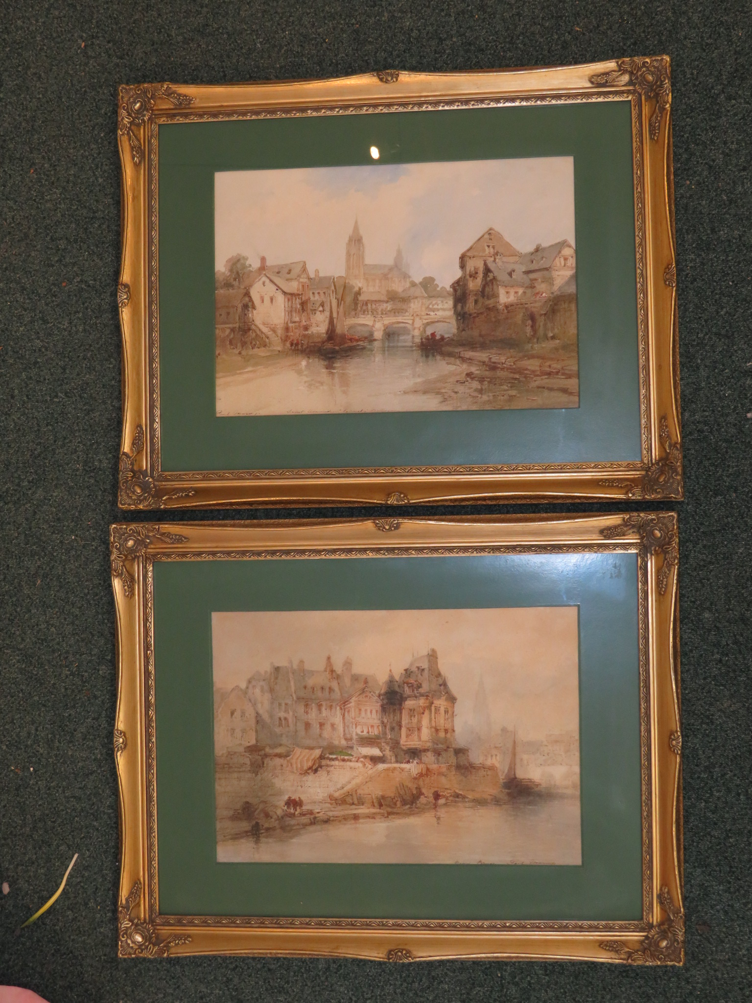 Lot 7 - Paul Marny - View of a French church Saint-Amand, signed and inscribed with title, watercolour
