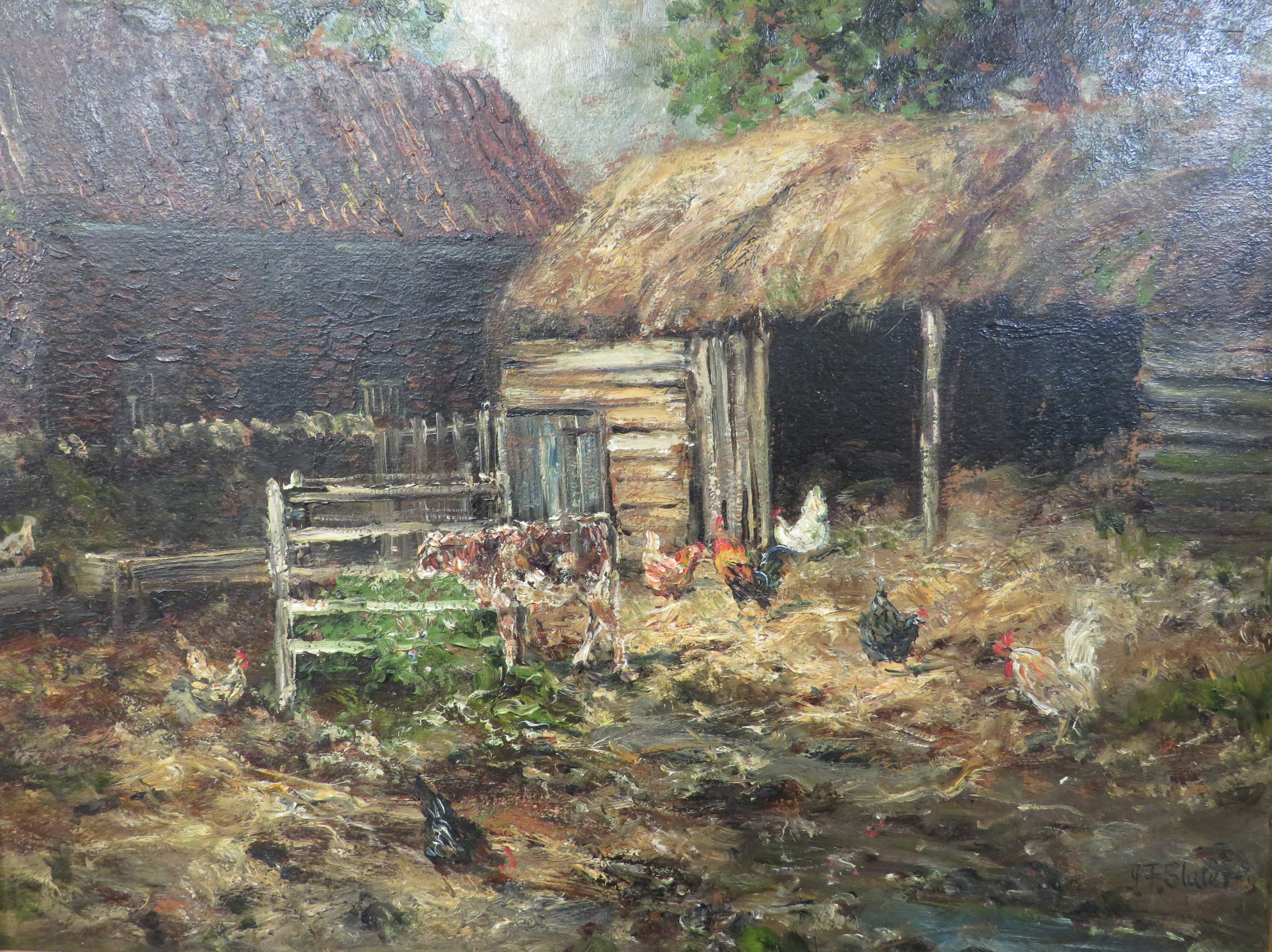 Lot 10 - John Falconar Slater (1857-1937) - farmyard with chickens, oil on canvas, signed lower right, (