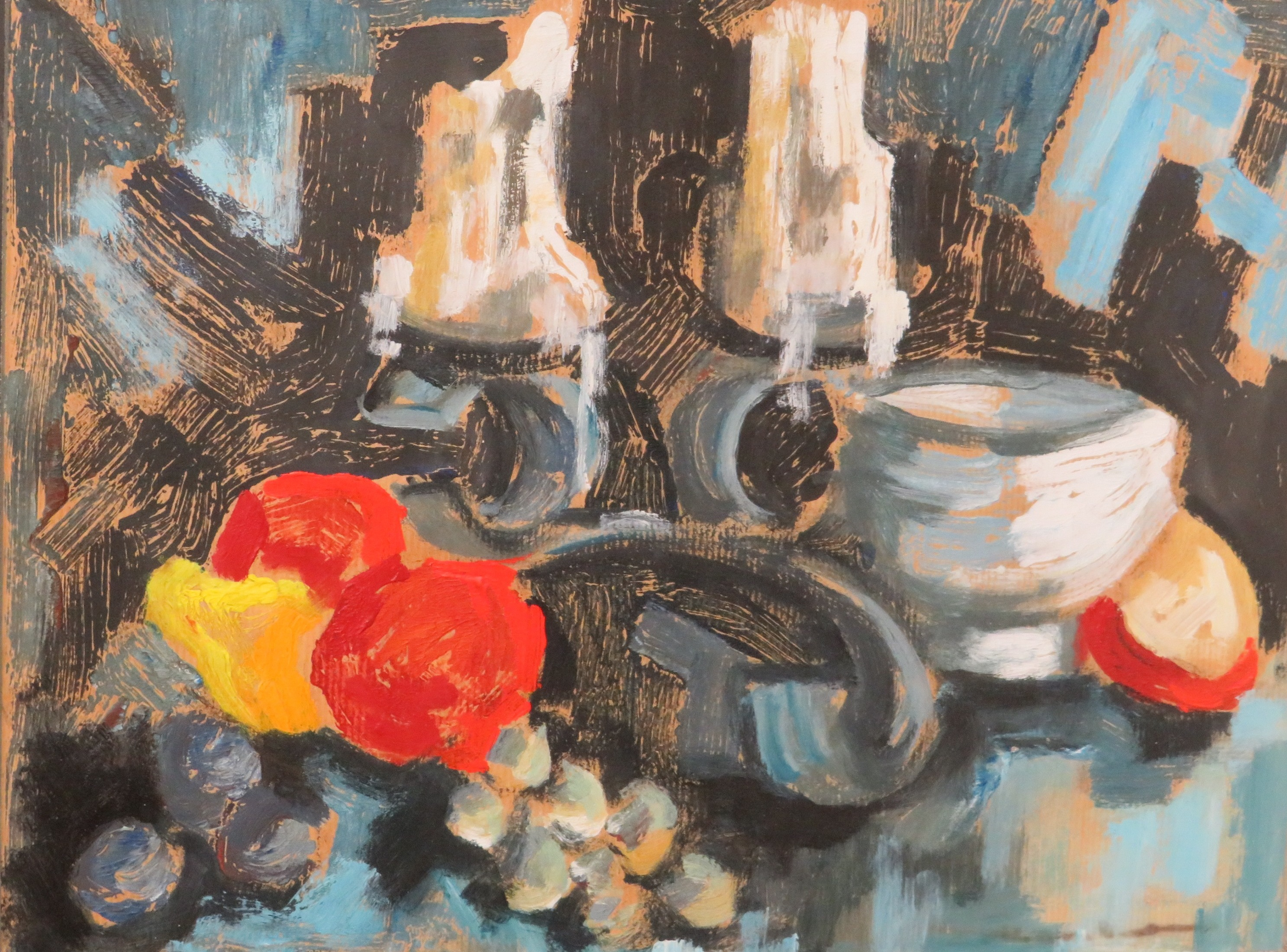 Lot 29 - Still life with red apples, poster paint on buff paper, no signature, (28cm x 38cm), glazed and in a