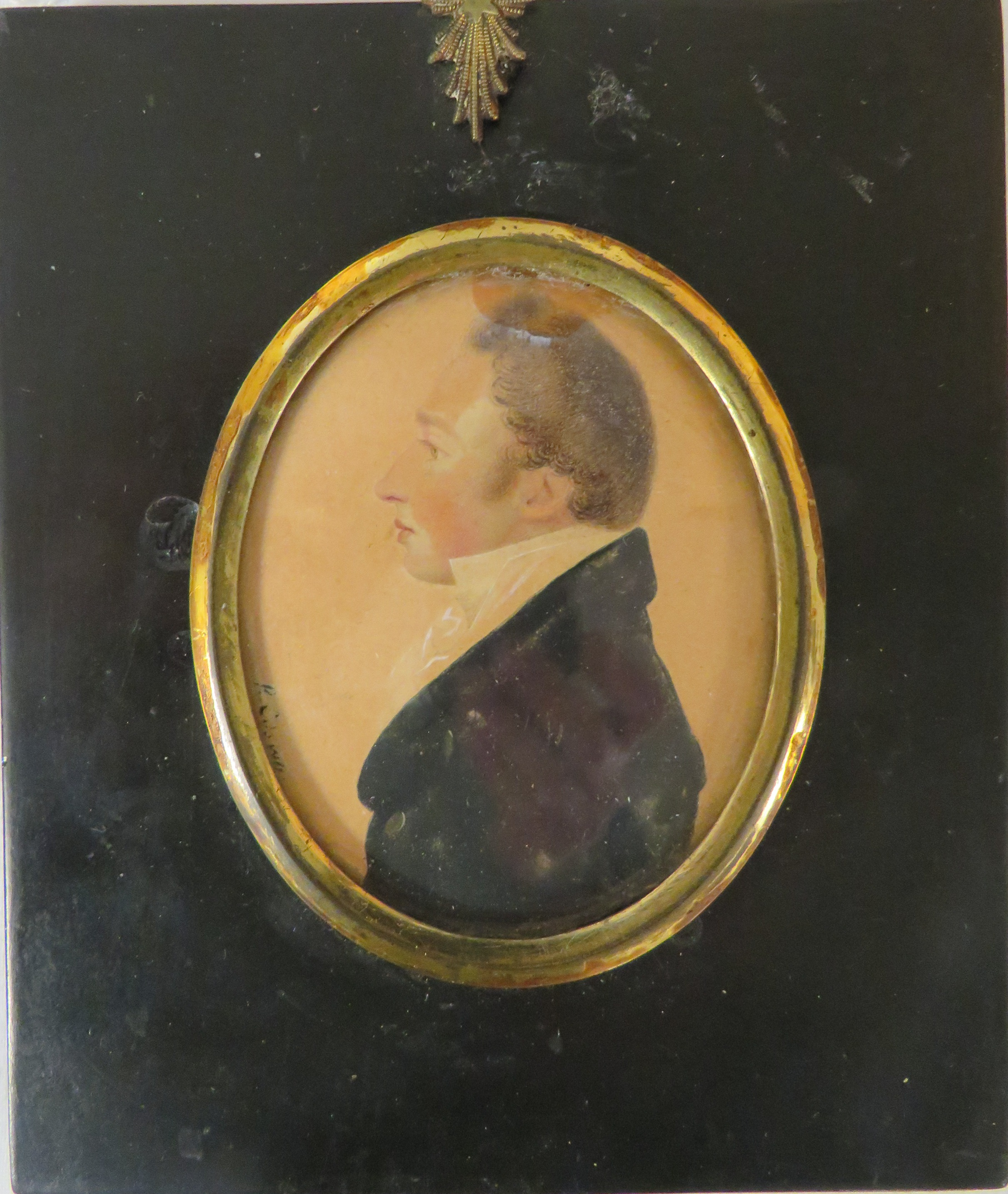 Lot 45 - Regency painted miniature oval portrait of gentleman on paper, signed to left side perhaps R.