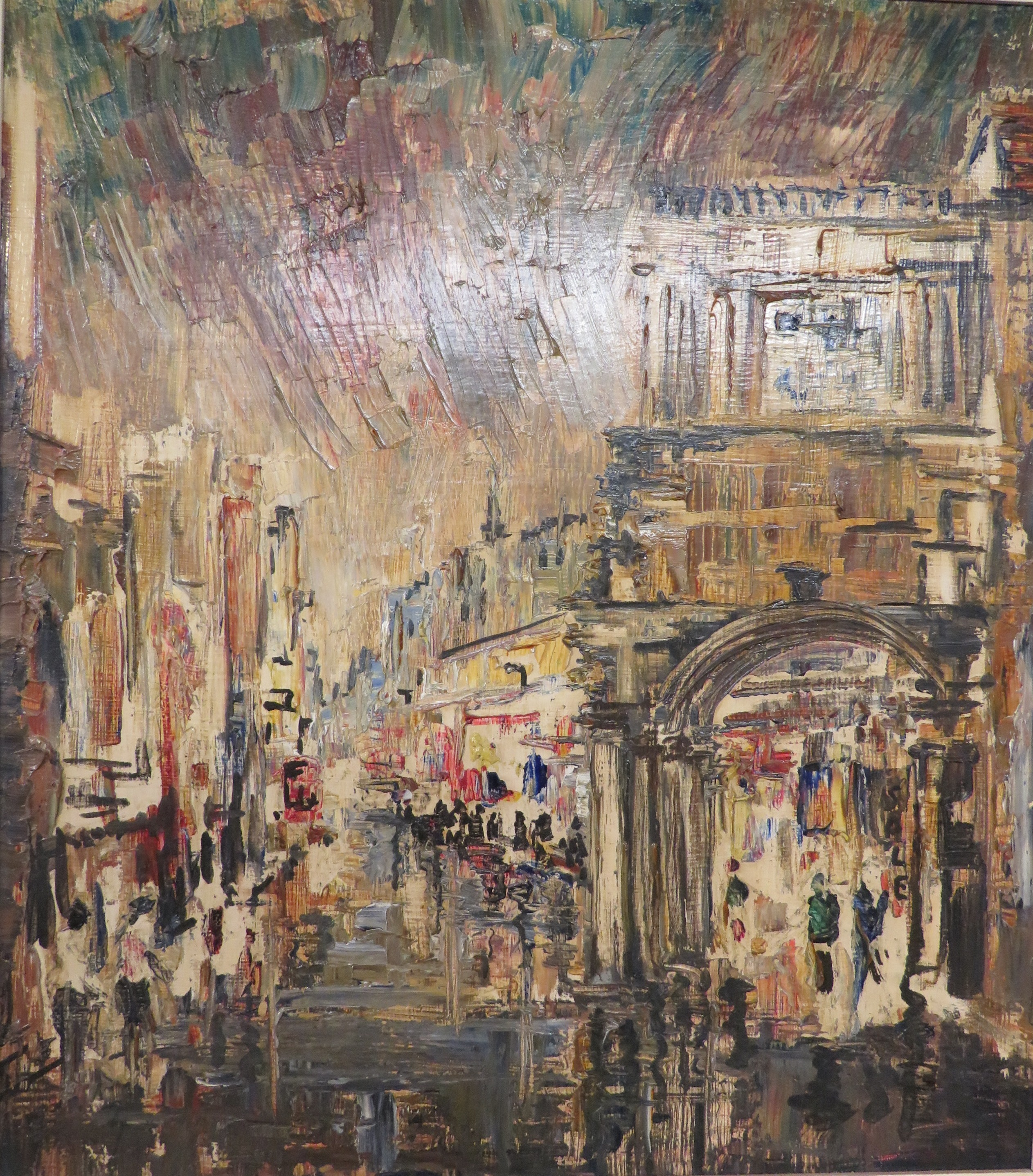 Lot 13 - Guildhall Exeter wet evening, oil on board, (44cm x 39cm), titled verso and Edwards Gallery of
